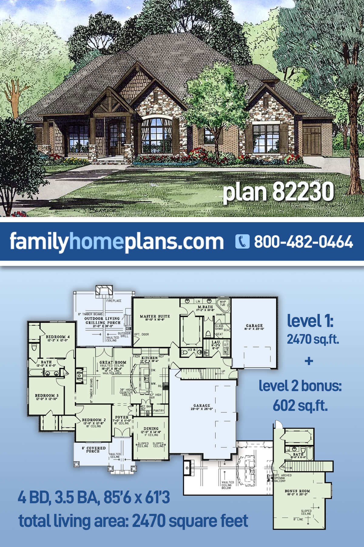 Craftsman , European House Plan 82230 with 4 Beds, 4 Baths, 3 Car Garage