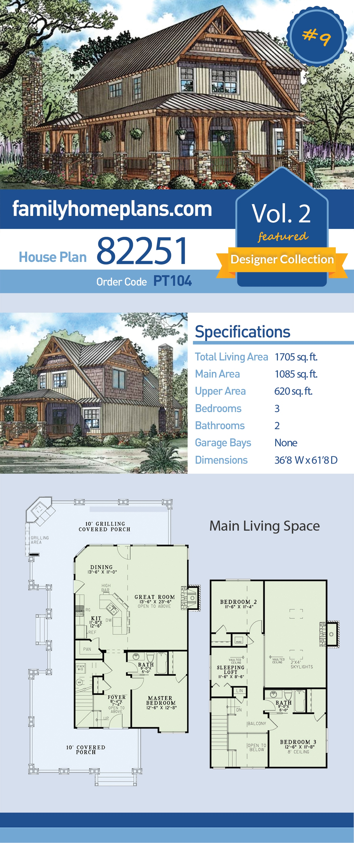 Country, Craftsman House Plan 82251 with 3 Beds, 2 Baths