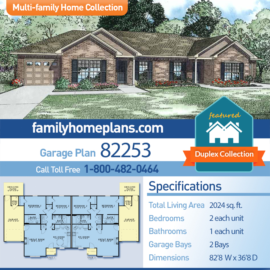 Traditional Multi-Family Plan 82253 with 4 Beds, 4 Baths, 2 Car Garage
