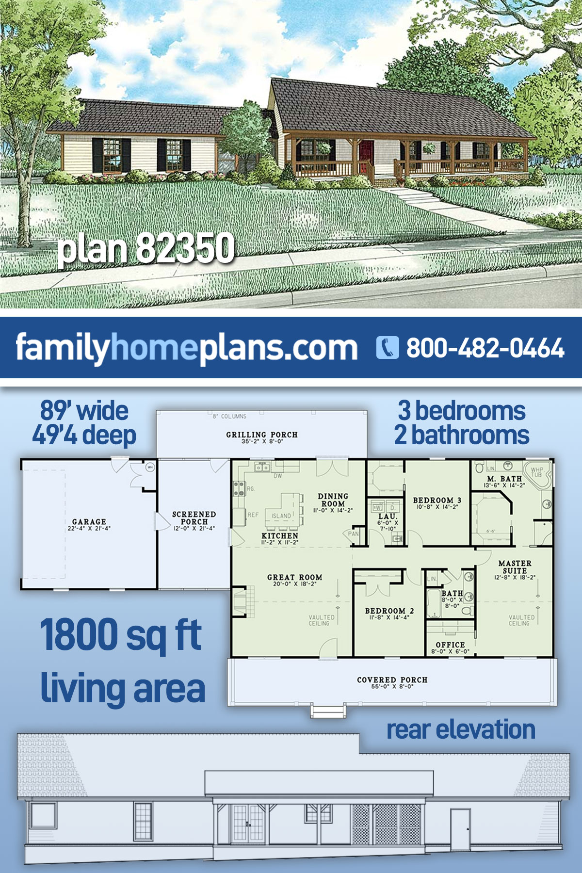 Country, Ranch House Plan 82350 with 3 Beds, 2 Baths, 2 Car Garage