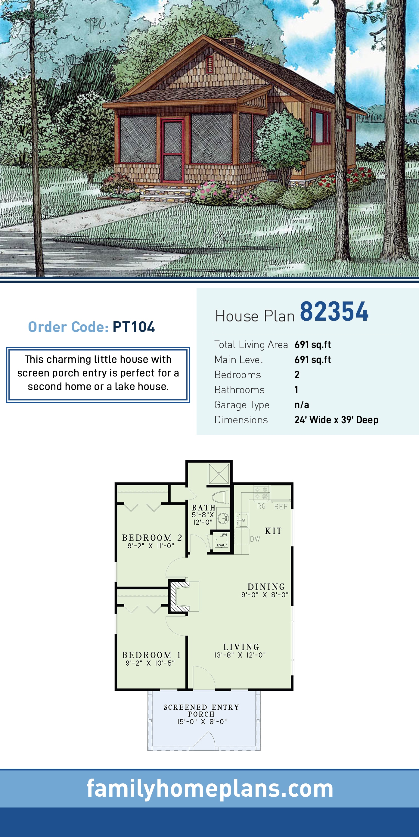 Cabin, Country, Craftsman House Plan 82354 with 2 Beds, 1 Baths