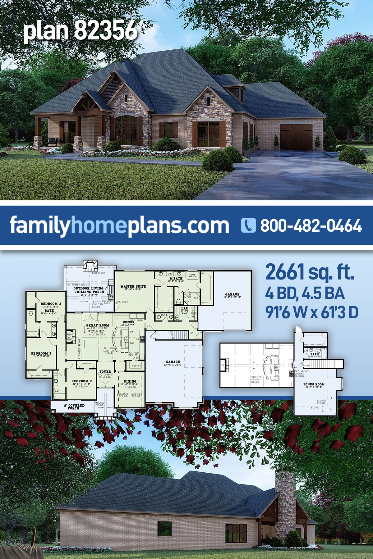 Craftsman, European, Traditional House Plan 82356 with 4 Beds, 5 Baths, 3 Car Garage