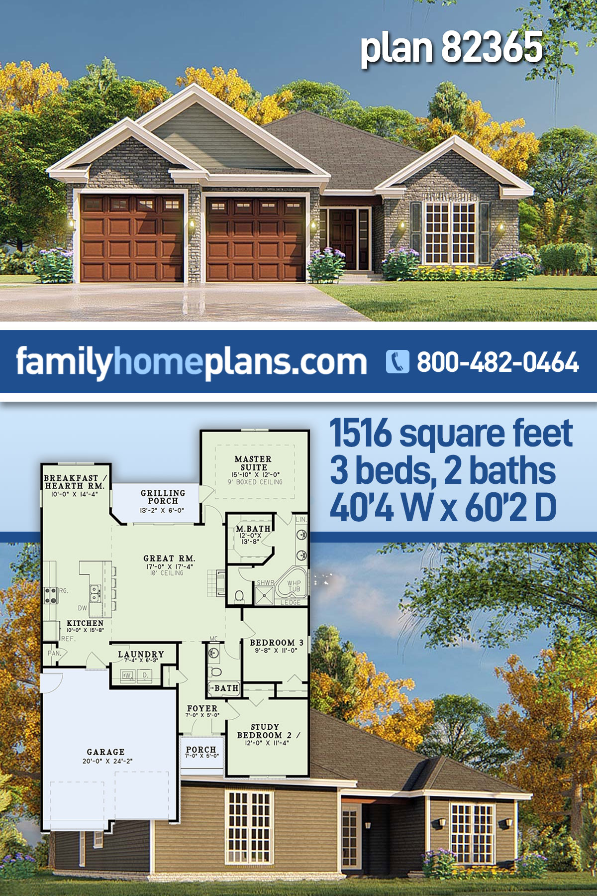Traditional House Plan 82365 with 3 Beds, 2 Baths, 2 Car Garage