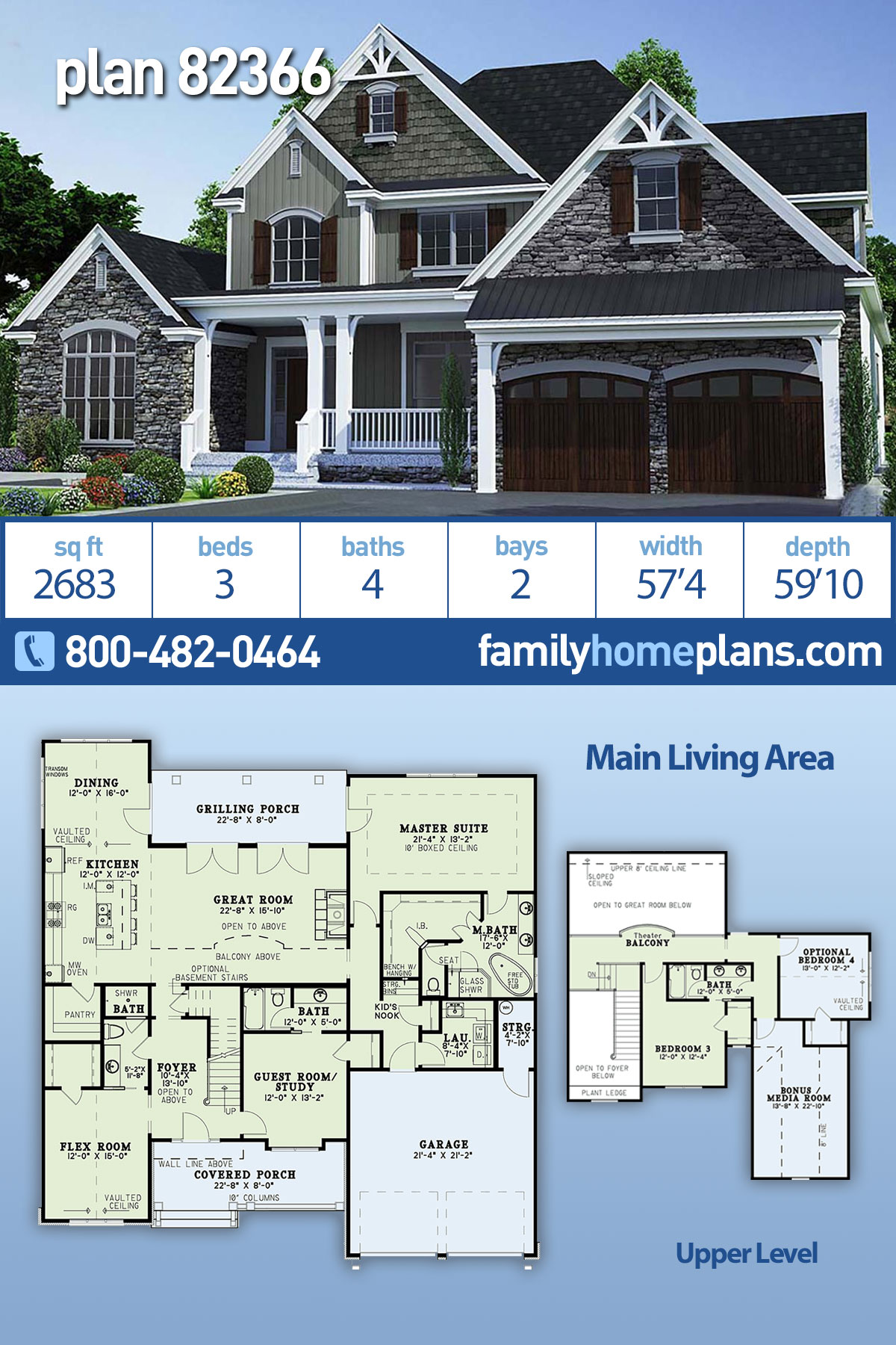 Bungalow, Craftsman, Farmhouse, Traditional House Plan 82366 with 3 Beds, 4 Baths, 2 Car Garage