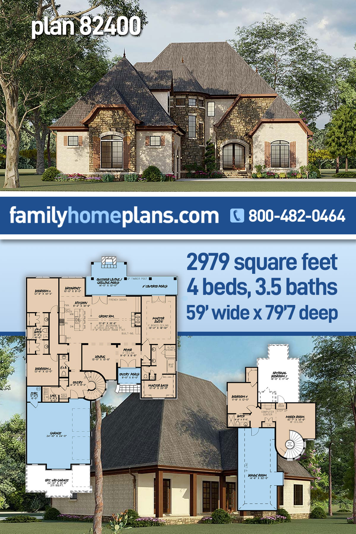 Cottage, European, French Country House Plan 82400 with 4 Beds, 4 Baths, 2 Car Garage