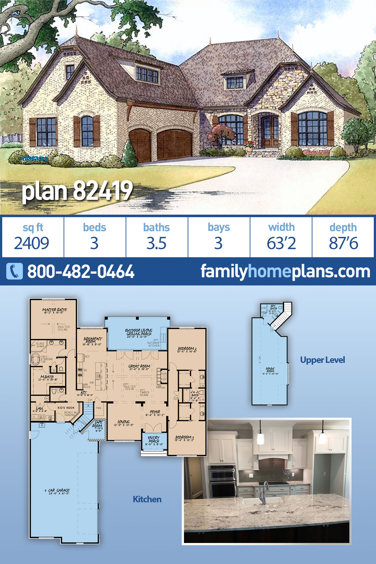 European , French Country House Plan 82419 with 3 Beds, 4 Baths, 3 Car Garage
