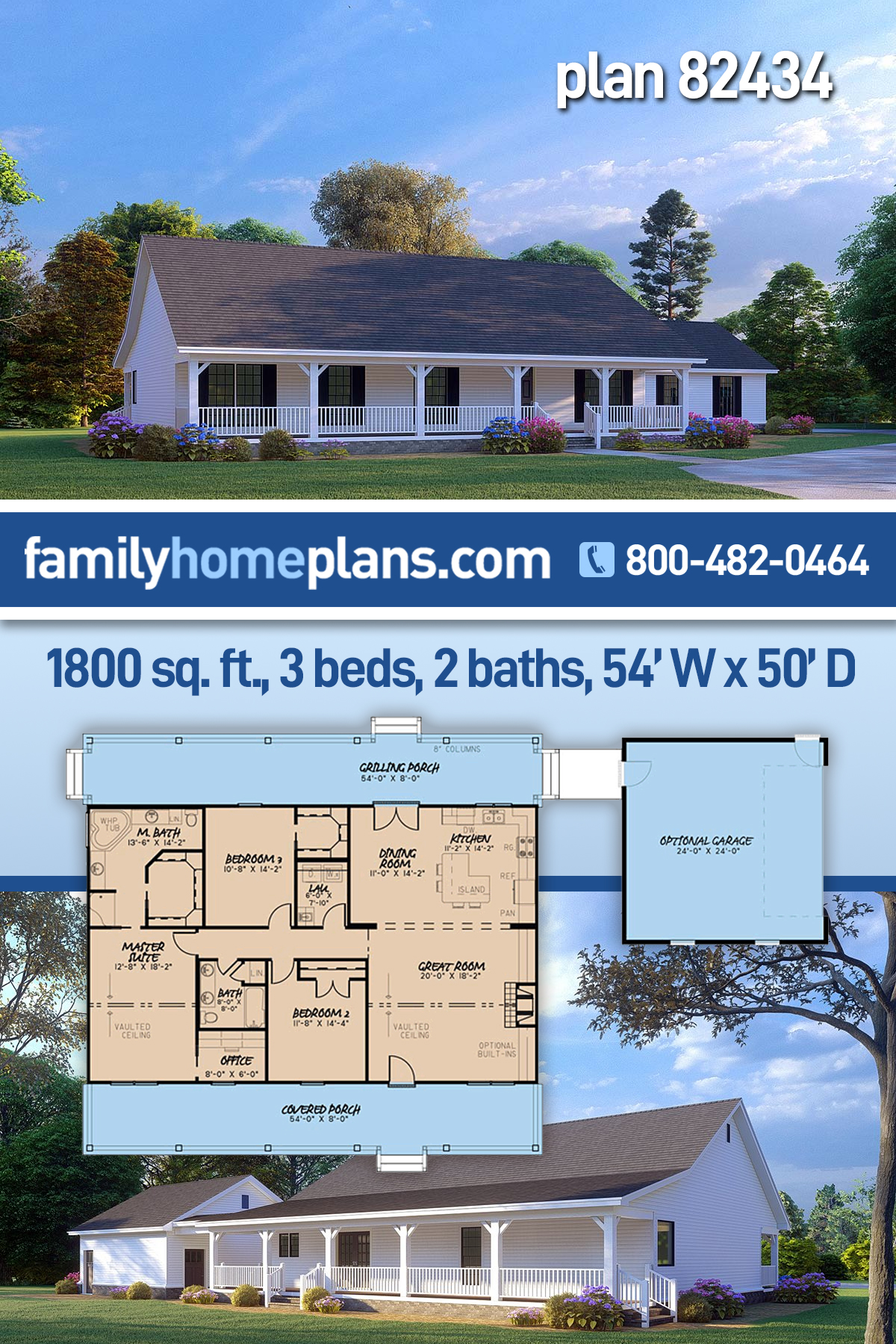Cabin, Country, Ranch House Plan 82434 with 3 Beds , 2 Baths , 2 Car Garage