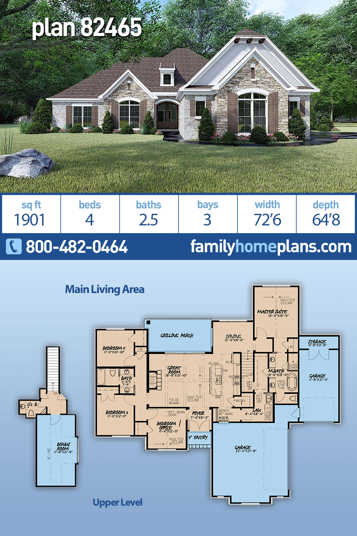 European, French Country, Traditional House Plan 82465 with 4 Beds, 3 Baths, 3 Car Garage