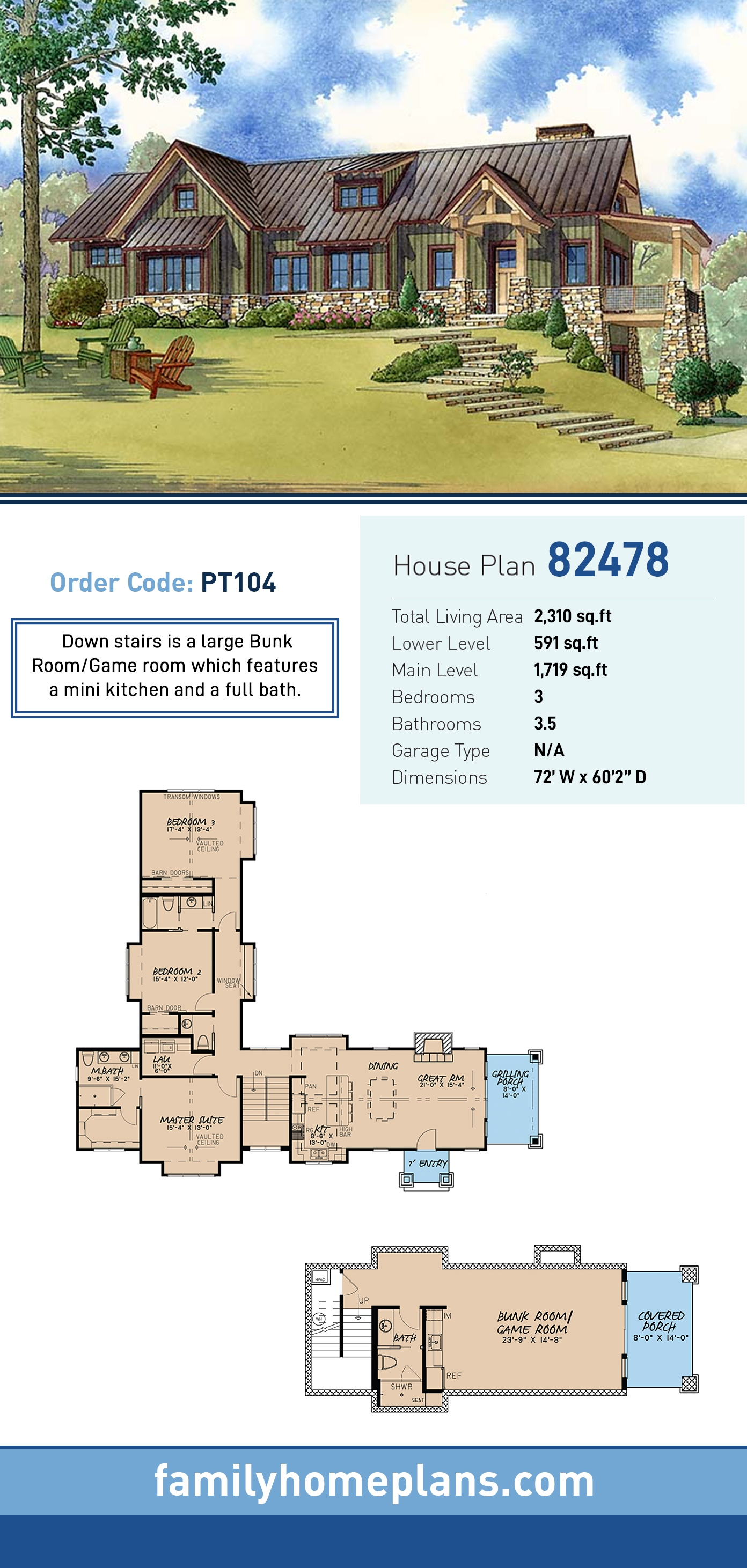Contemporary, Country, Craftsman House Plan 82478 with 3 Beds, 4 Baths