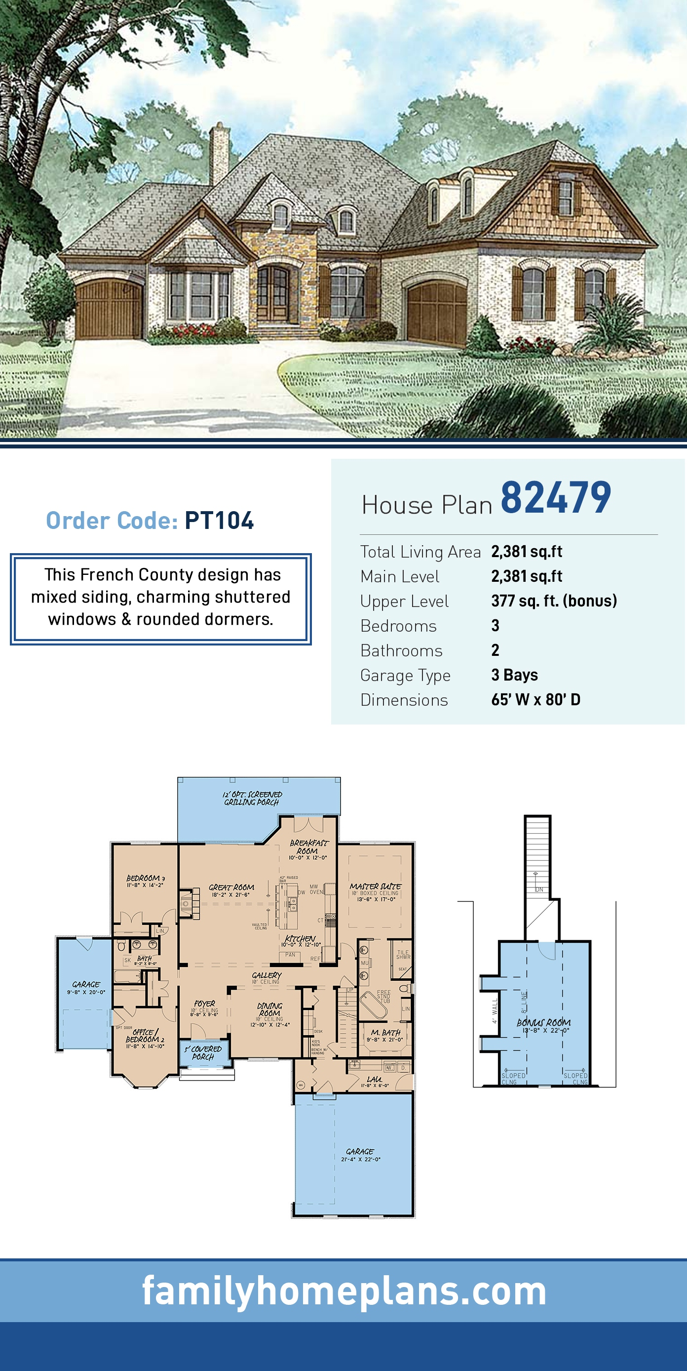 European, French Country House Plan 82479 with 3 Beds, 2 Baths, 3 Car Garage
