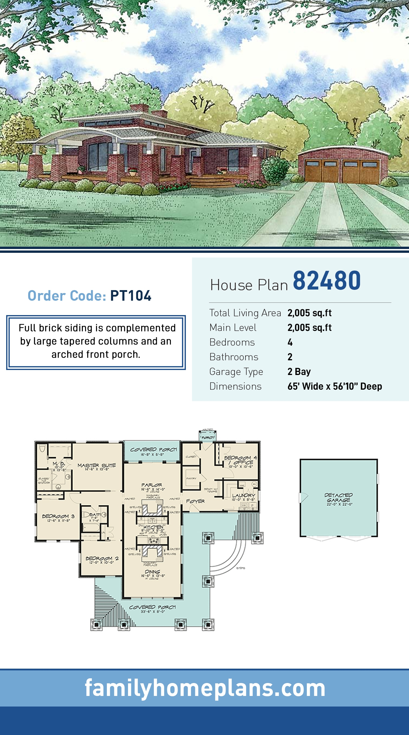 Contemporary, Mediterranean, Modern House Plan 82480 with 4 Beds, 2 Baths, 2 Car Garage