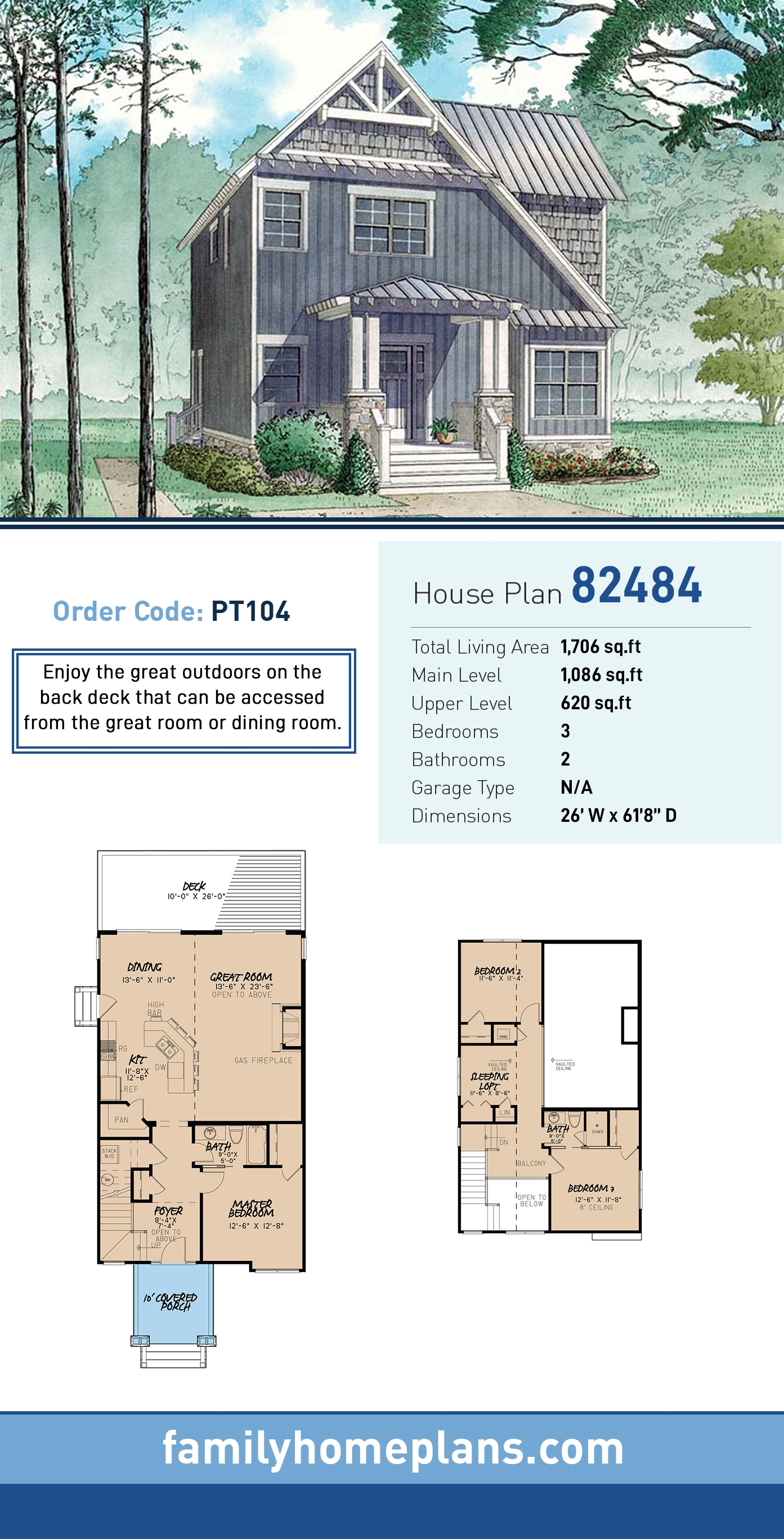 Contemporary, Cottage, Country, Craftsman, Saltbox, Southern House Plan 82484 with 3 Beds, 2 Baths