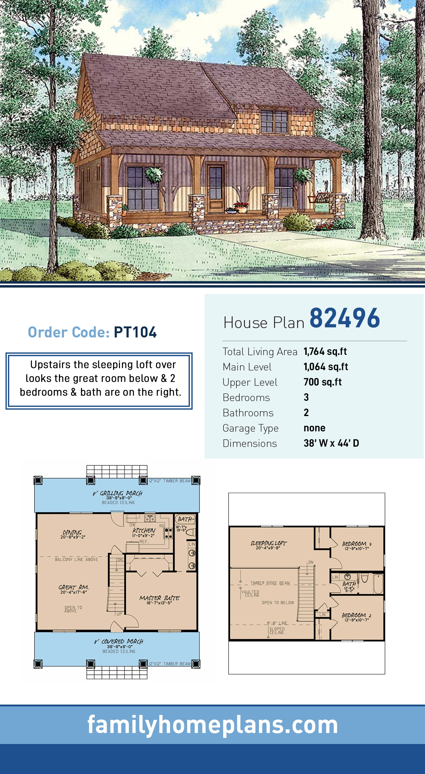 Country House Plan 82496 with 3 Beds, 2 Baths