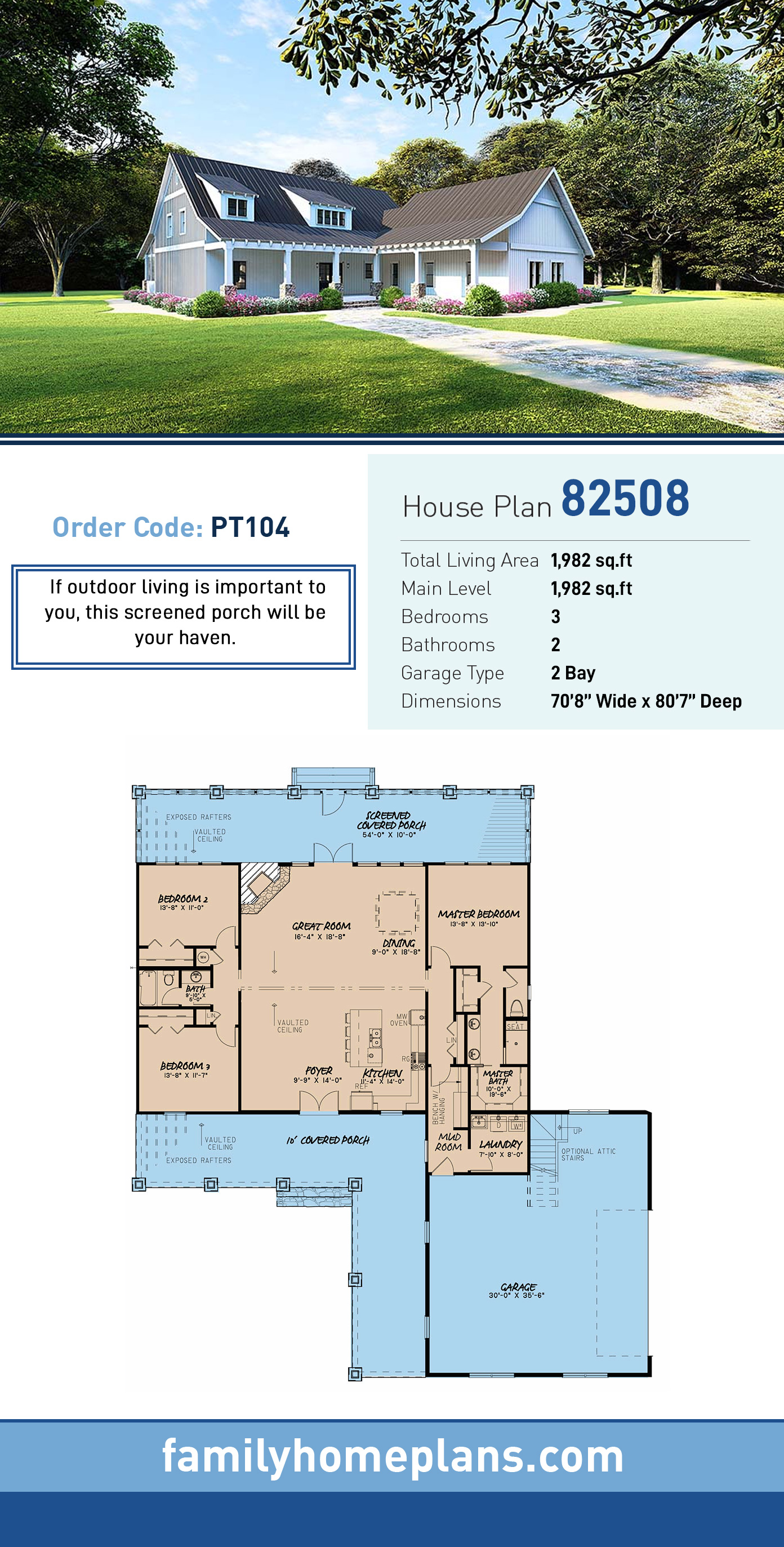 Country , Ranch House Plan 82508 with 3 Beds, 2 Baths, 2 Car Garage