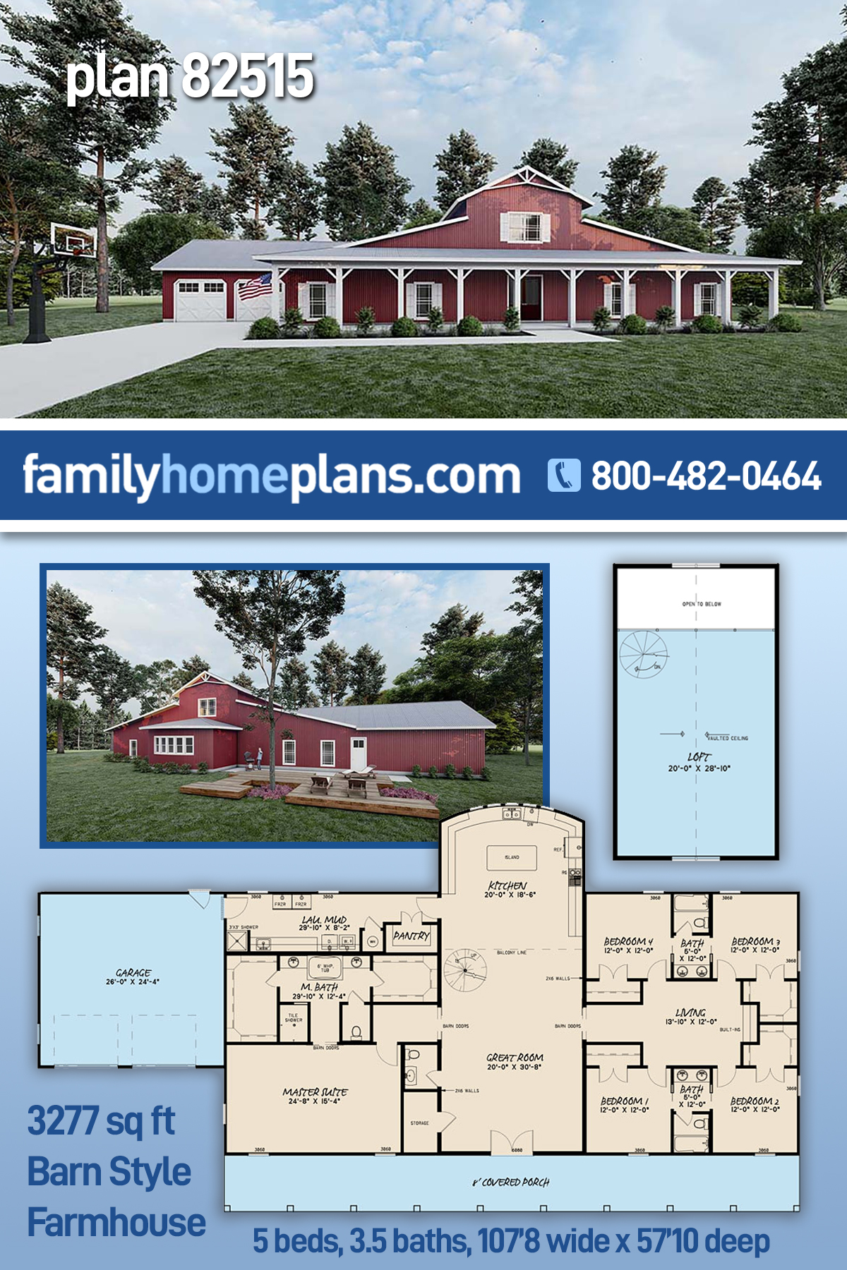Country, Modern Farmhouse, Southern House Plan 82515 with 5 Beds , 4 Baths , 2 Car Garage