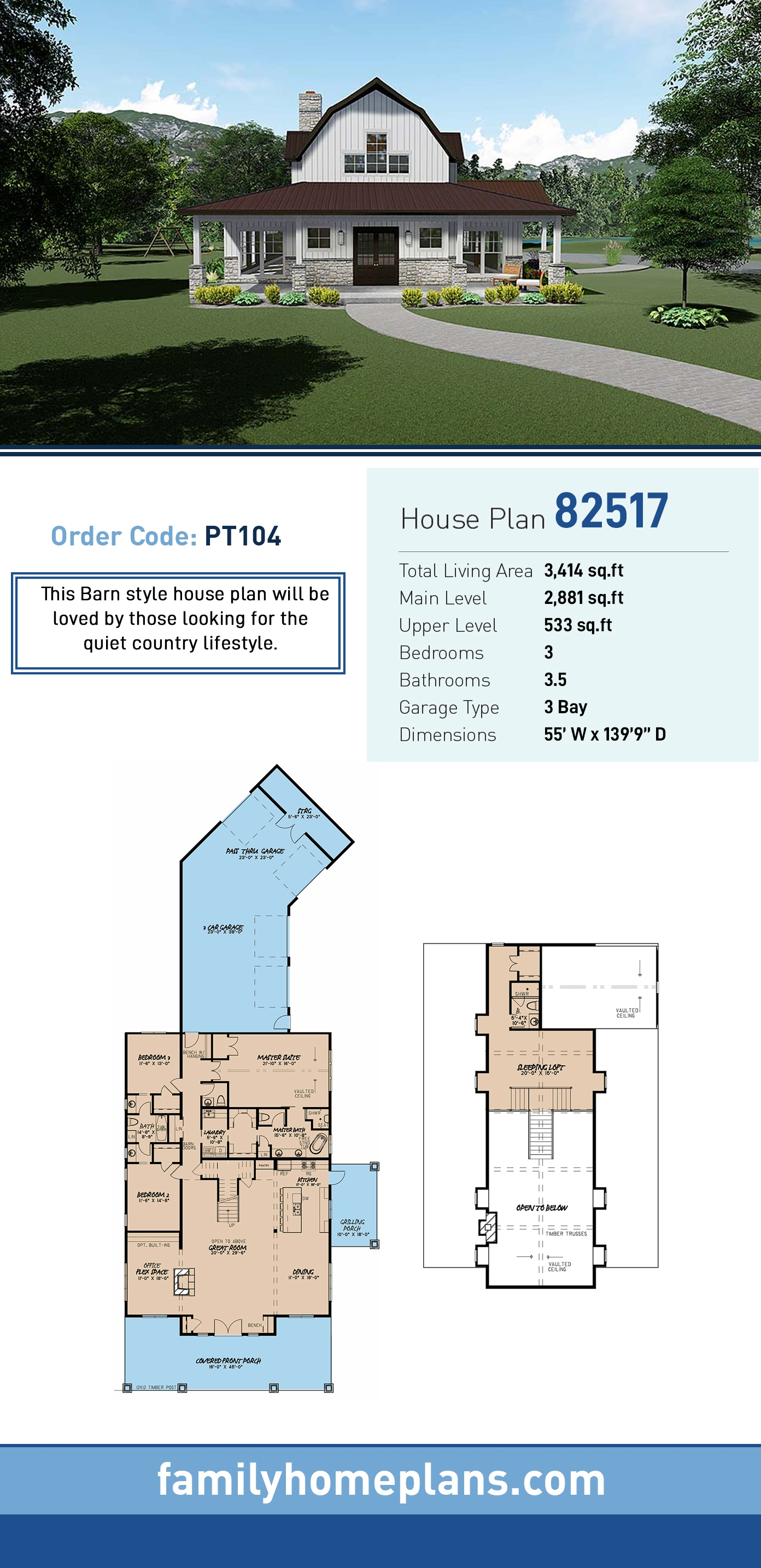 Contemporary, Country, Southern House Plan 82517 with 3 Beds, 4 Baths, 3 Car Garage