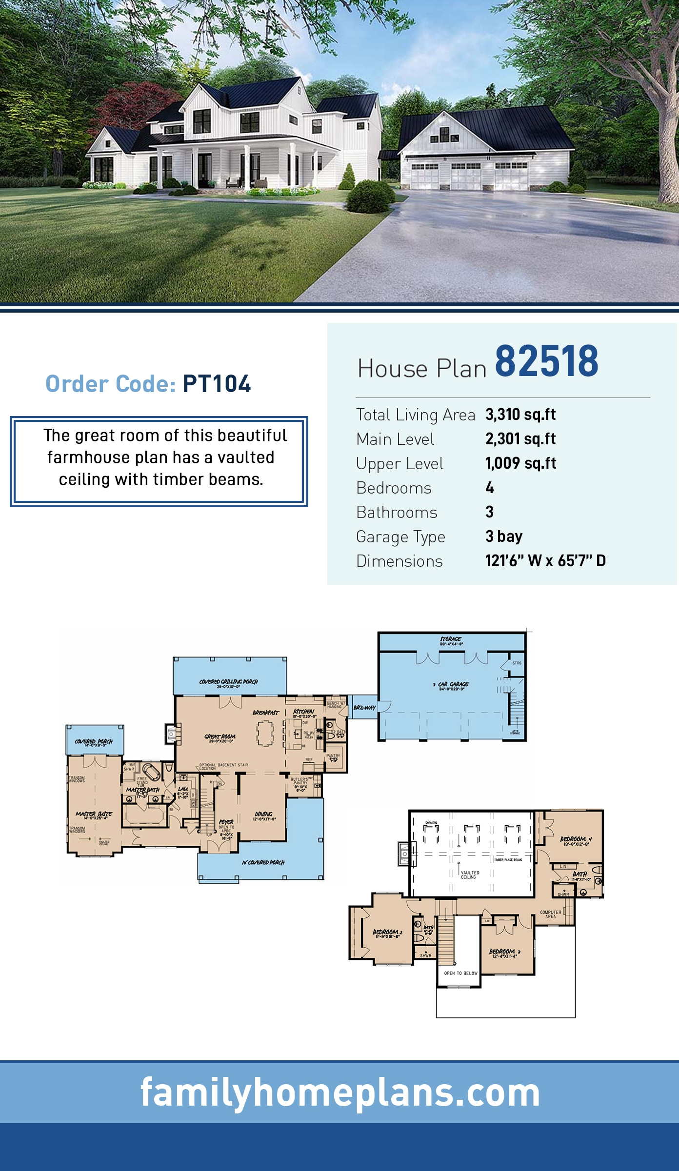 Country, Farmhouse House Plan 82518 with 4 Beds, 4 Baths, 3 Car Garage
