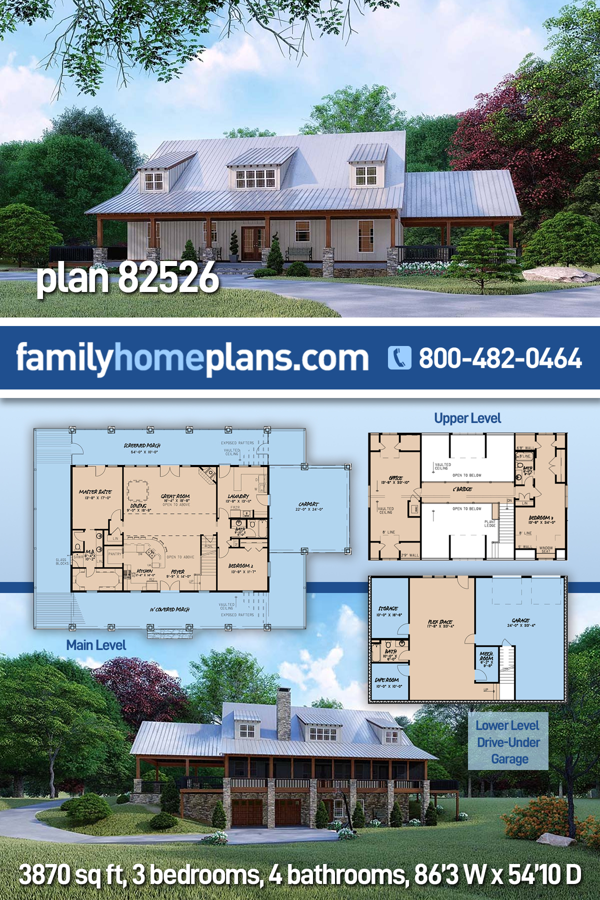Farmhouse House Plan 82526 with 3 Beds, 4 Baths, 2 Car Garage