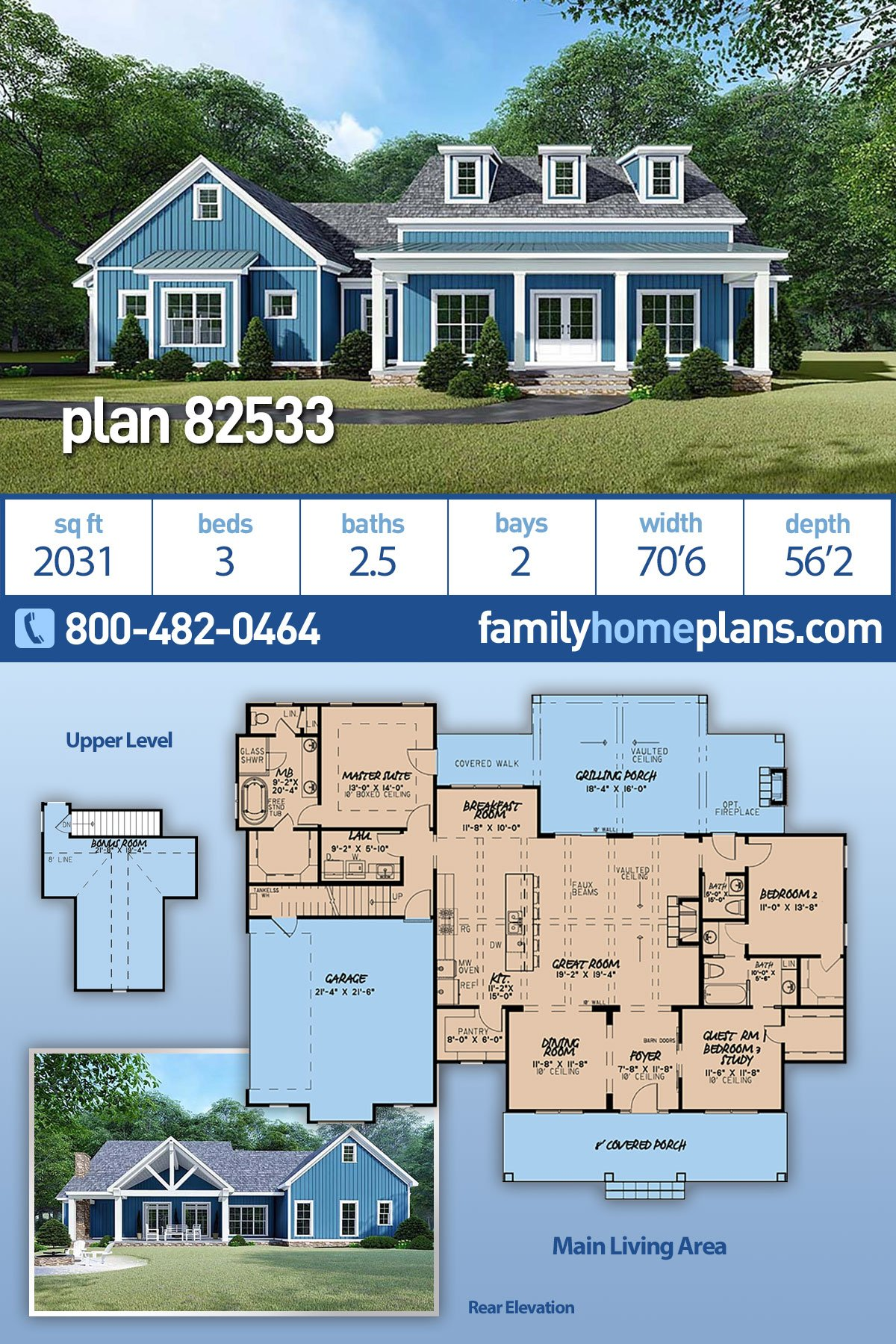Bungalow, Country, Craftsman, Farmhouse House Plan 82533 with 3 Beds, 3 Baths, 2 Car Garage