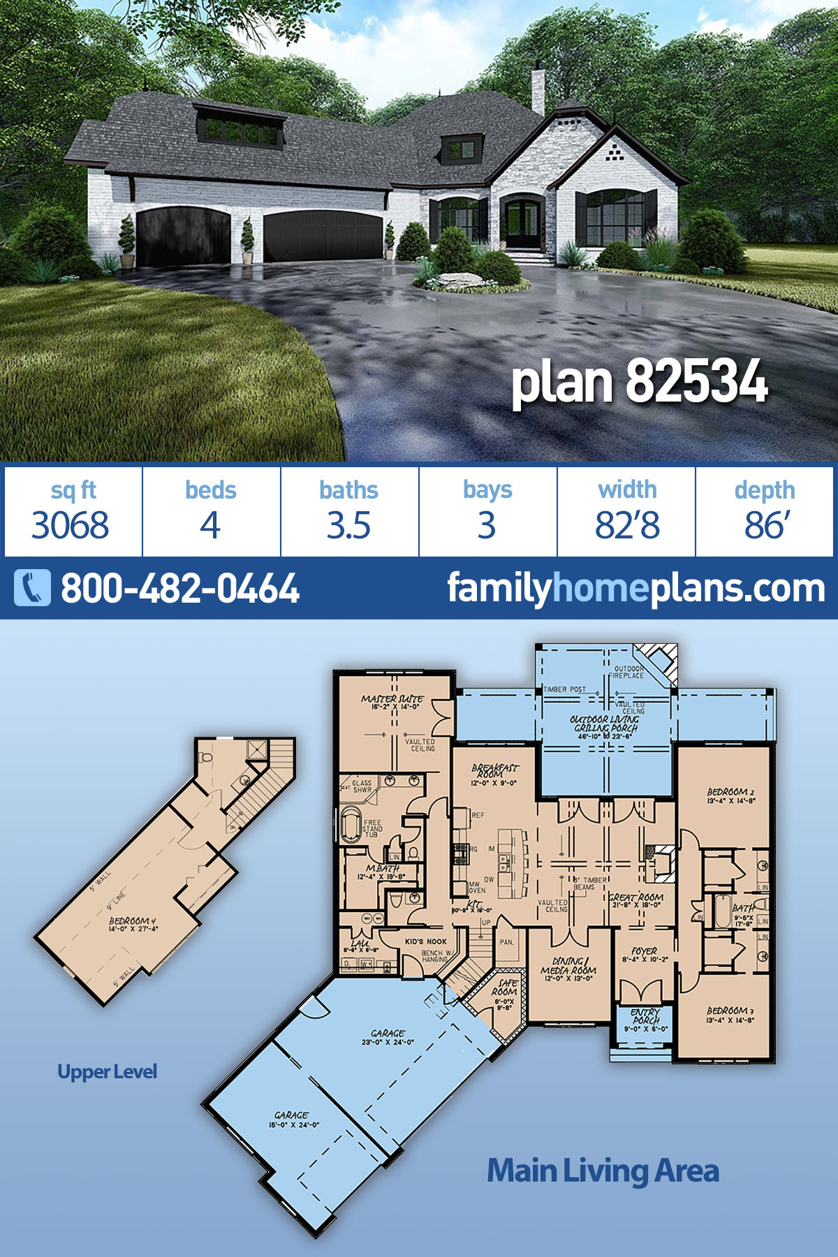 Bungalow, Craftsman, European, French Country House Plan 82534 with 4 Beds, 4 Baths, 3 Car Garage