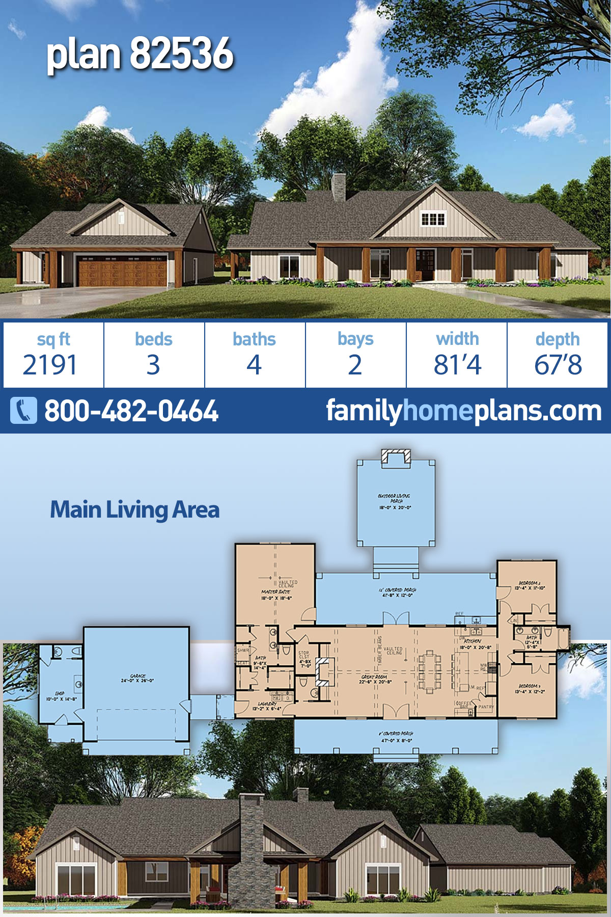 Bungalow, Craftsman, Farmhouse House Plan 82536 with 3 Beds, 4 Baths, 2 Car Garage