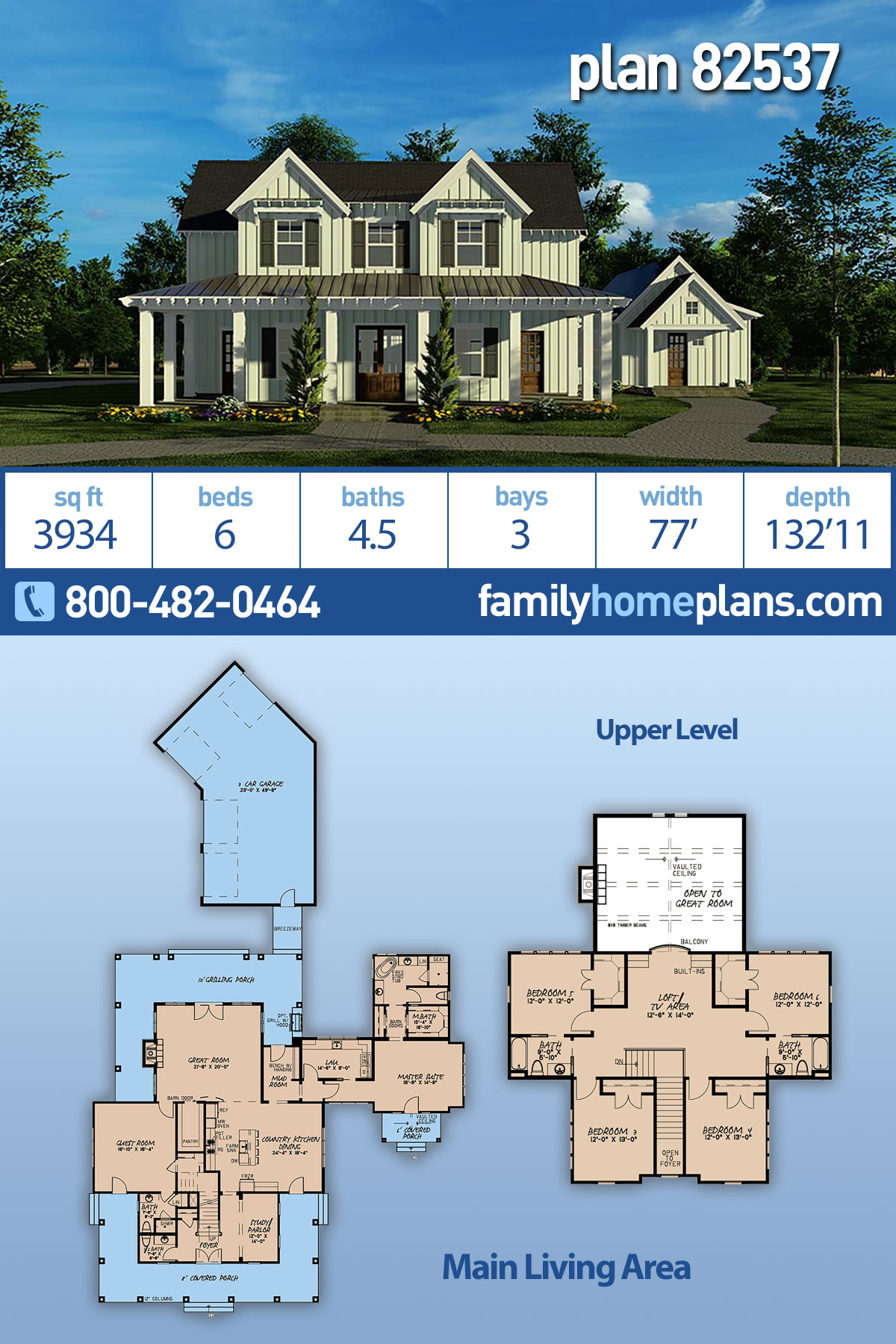 Bungalow, Country, Craftsman, Farmhouse House Plan 82537 with 6 Beds, 5 Baths, 3 Car Garage