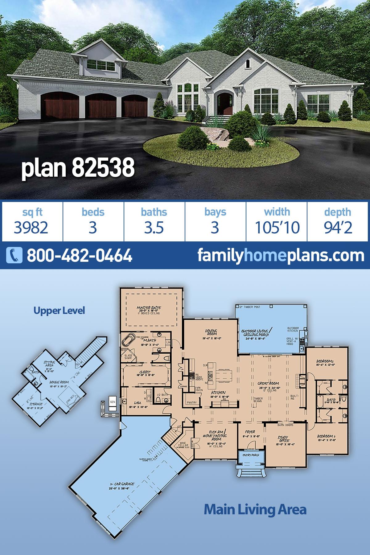 Bungalow, Craftsman, European House Plan 82538 with 3 Beds, 4 Baths, 3 Car Garage