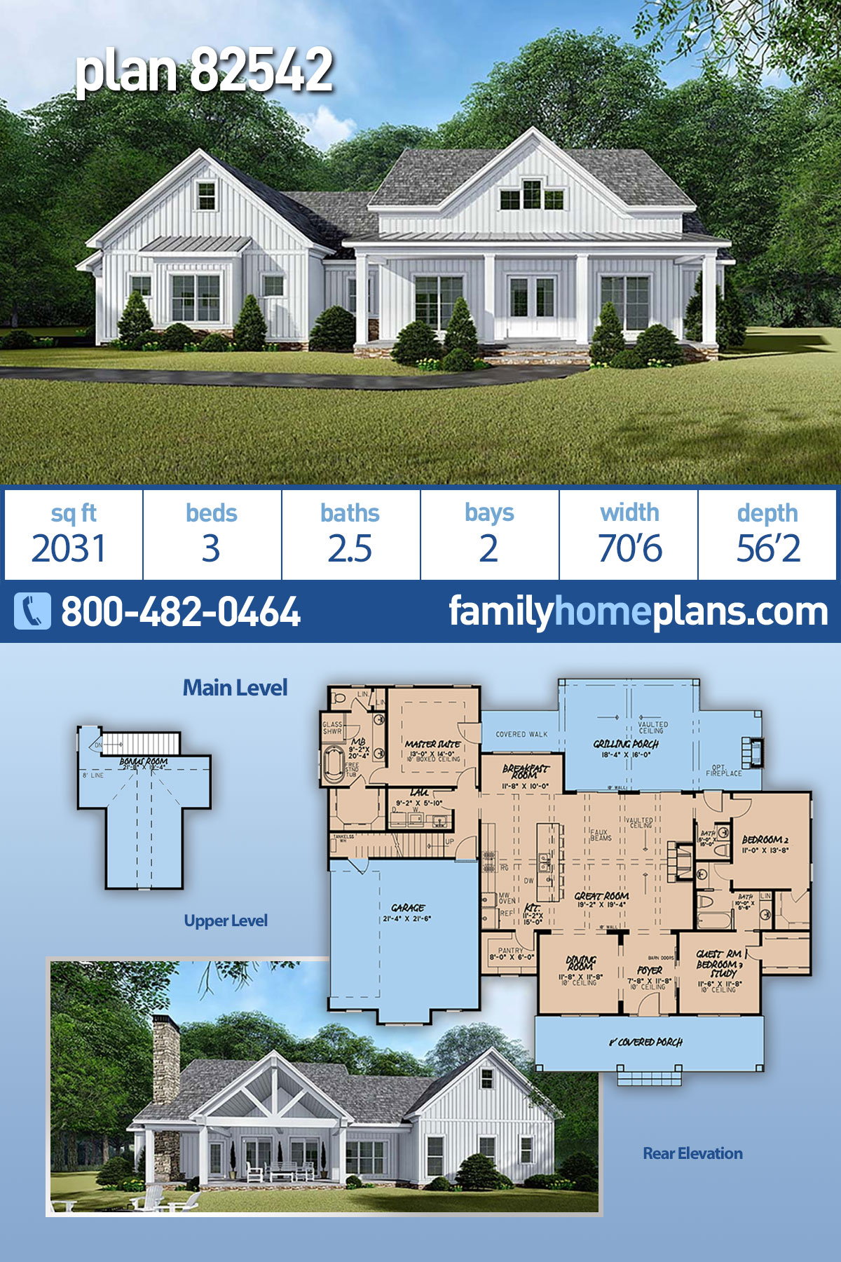 Bungalow, Country, Craftsman, Farmhouse House Plan 82542 with 3 Beds, 3 Baths, 2 Car Garage