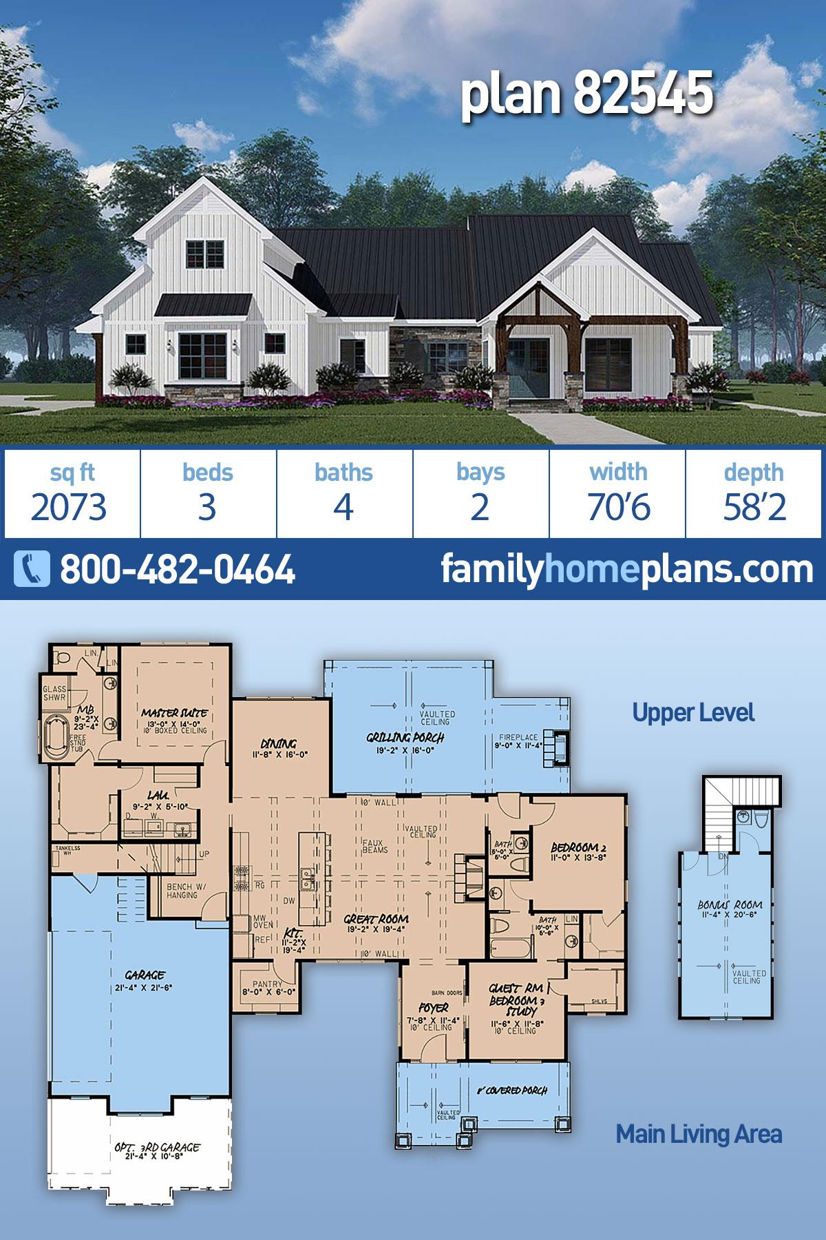 Bungalow, Craftsman, Farmhouse, Modern House Plan 82545 with 3 Beds, 4 Baths, 2 Car Garage