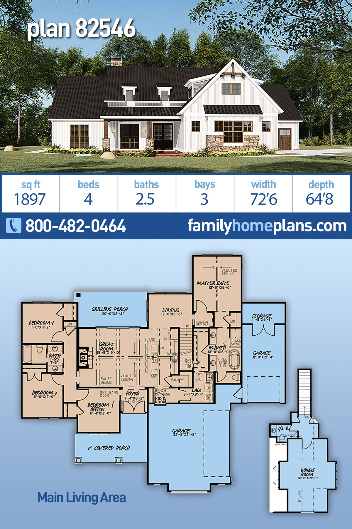 Bungalow, Craftsman, Farmhouse House Plan 82546 with 4 Beds, 3 Baths, 3 Car Garage
