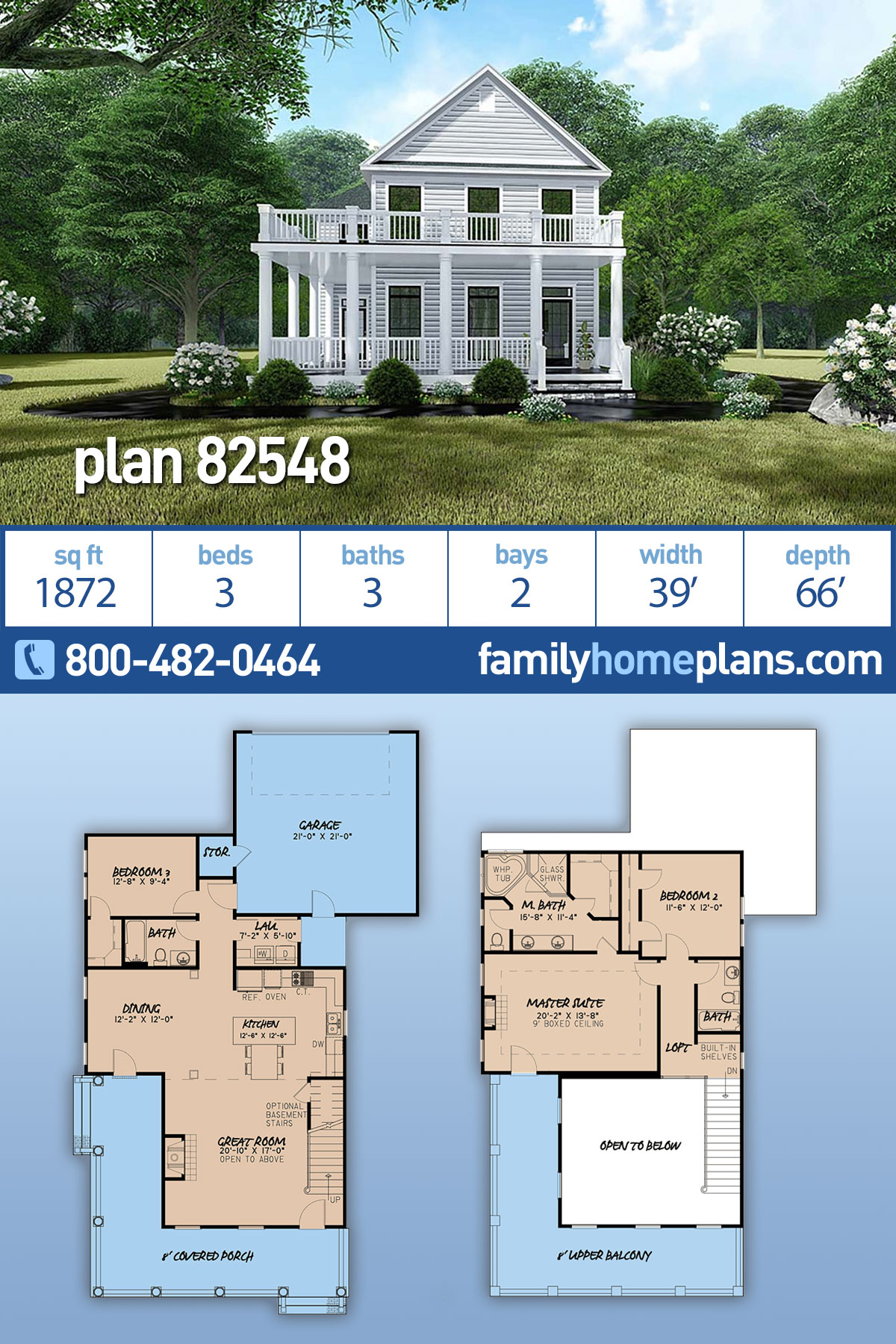 Colonial, Country, Farmhouse House Plan 82548 with 3 Beds, 3 Baths, 2 Car Garage