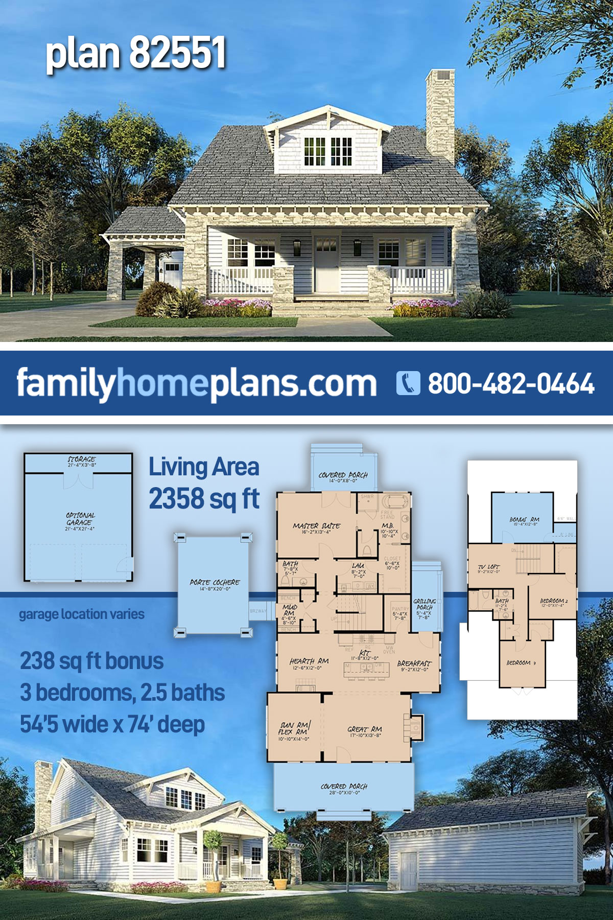 Bungalow, Country, Craftsman House Plan 82551 with 3 Beds , 3 Baths