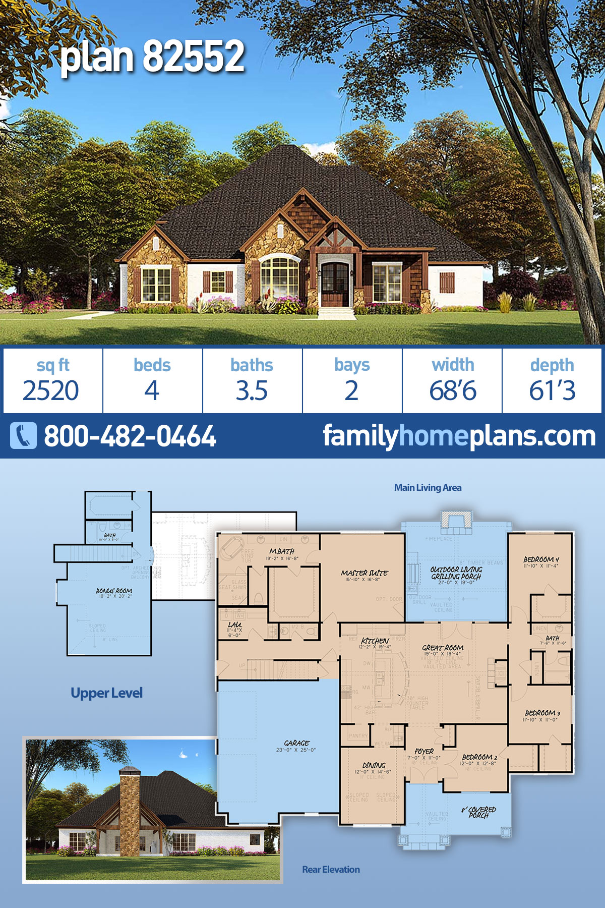 Bungalow, Craftsman, French Country, One-Story, Traditional House Plan 82552 with 4 Beds , 4 Baths , 2 Car Garage