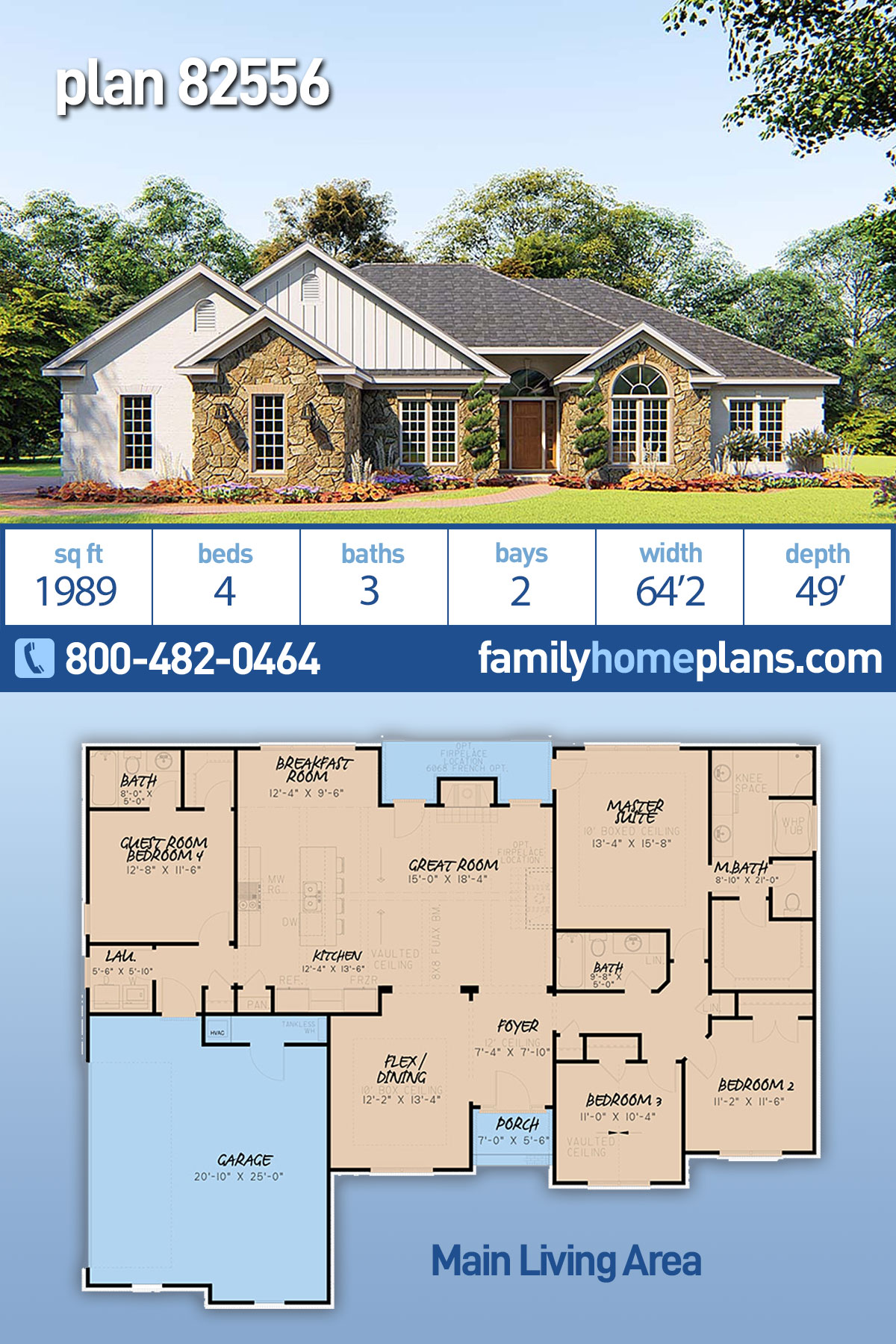 Bungalow, Craftsman, French Country, Traditional House Plan 82556 with 4 Beds , 3 Baths , 2 Car Garage