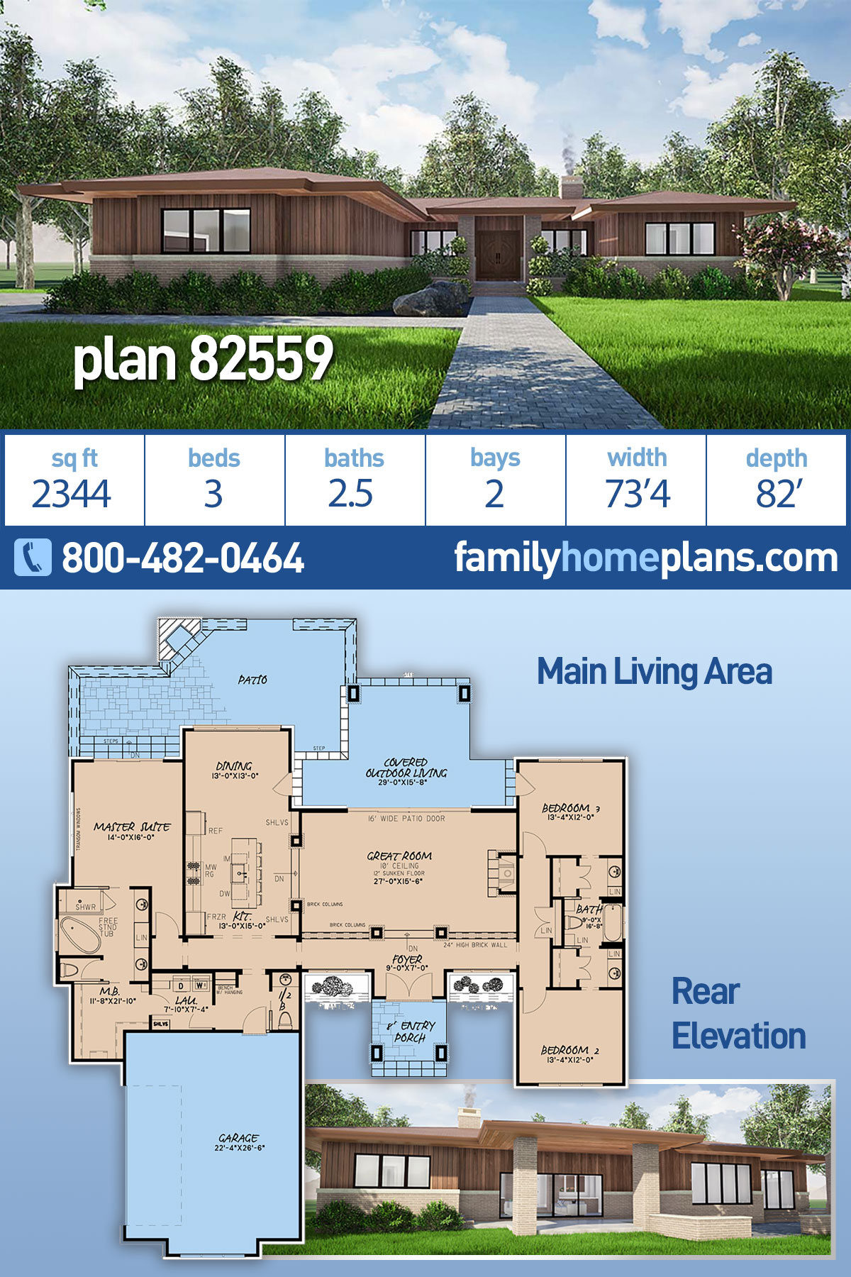 Contemporary, Modern, One-Story House Plan 82559 with 3 Beds , 3 Baths , 2 Car Garage