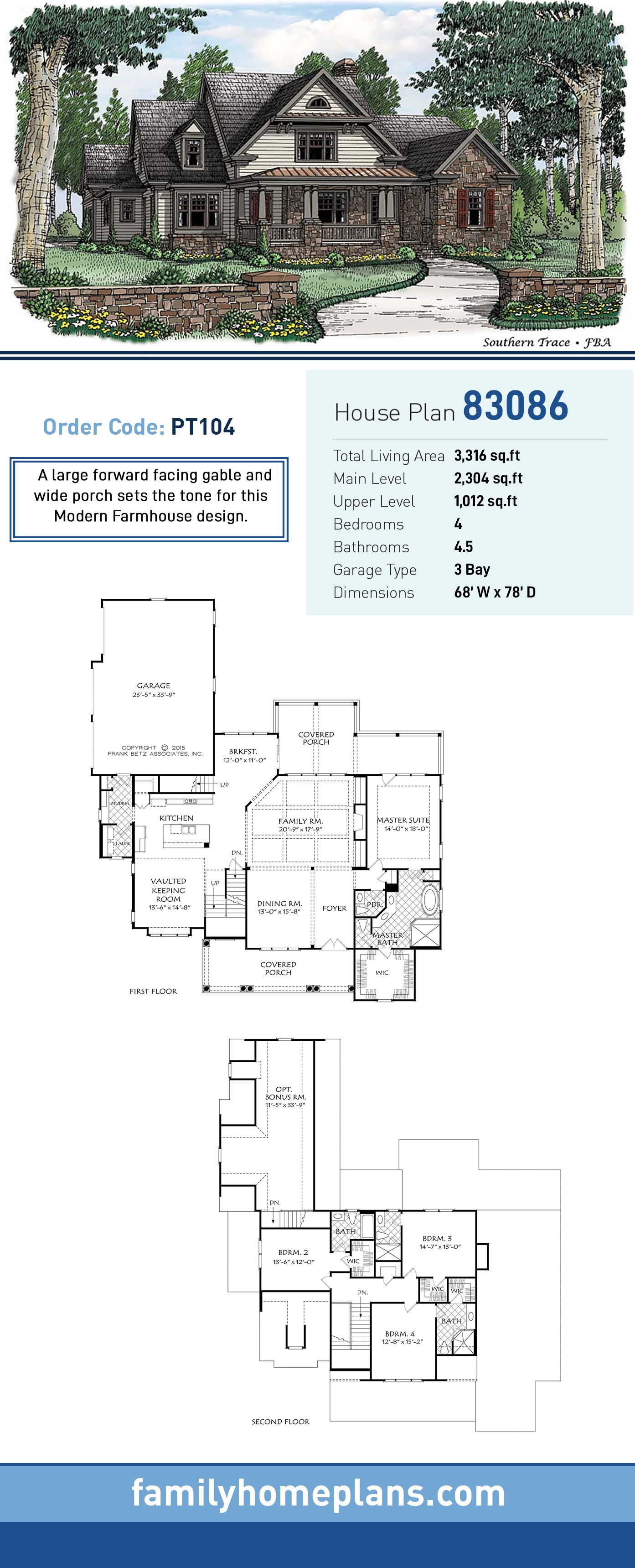 Bungalow, Cottage, Country House Plan 83086 with 4 Beds, 5 Baths, 3 Car Garage