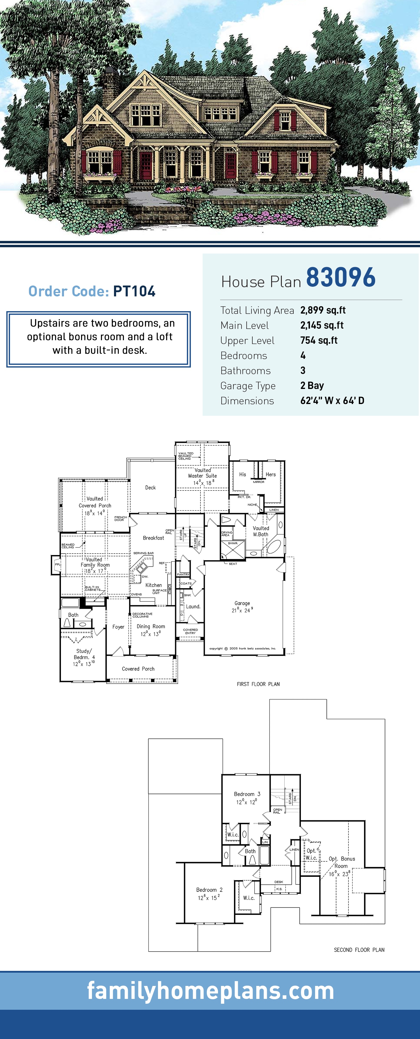 Cottage, Country, Craftsman, Traditional House Plan 83096 with 4 Beds, 3 Baths, 2 Car Garage
