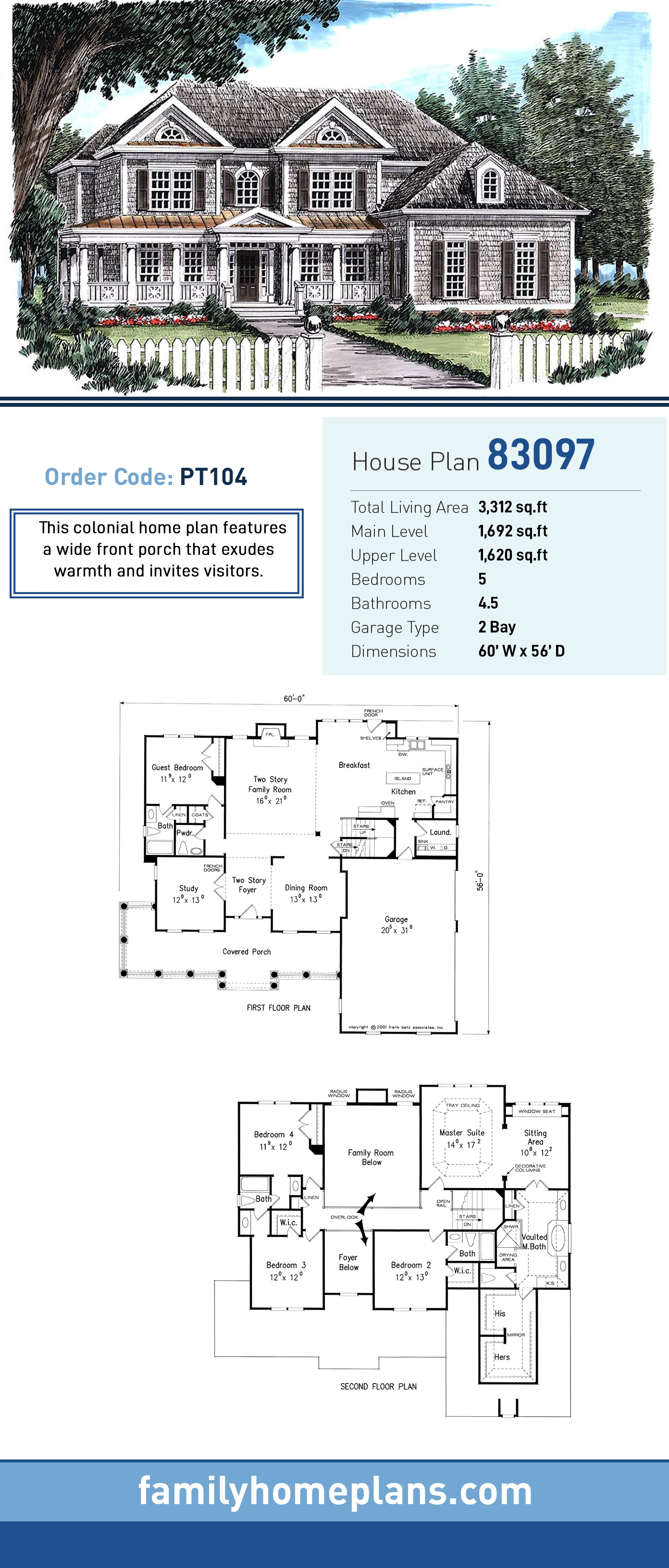 Colonial, Southern, Traditional House Plan 83097 with 5 Beds, 5 Baths, 2 Car Garage
