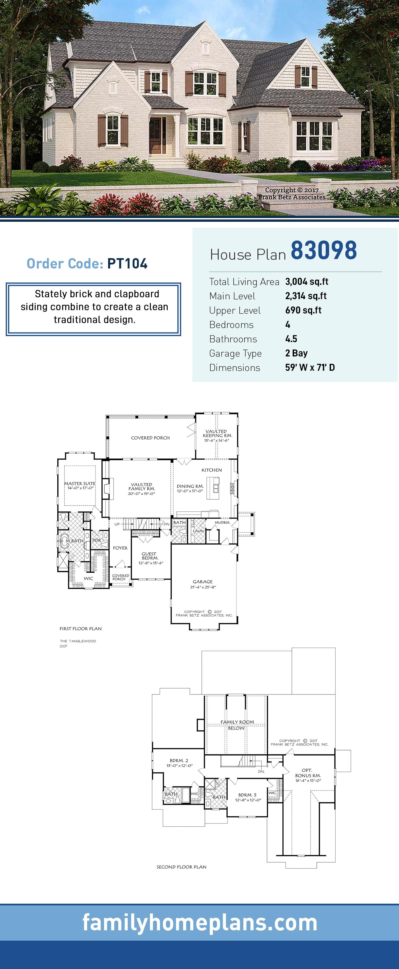 European, Traditional, Tudor House Plan 83098 with 4 Beds, 5 Baths, 2 Car Garage