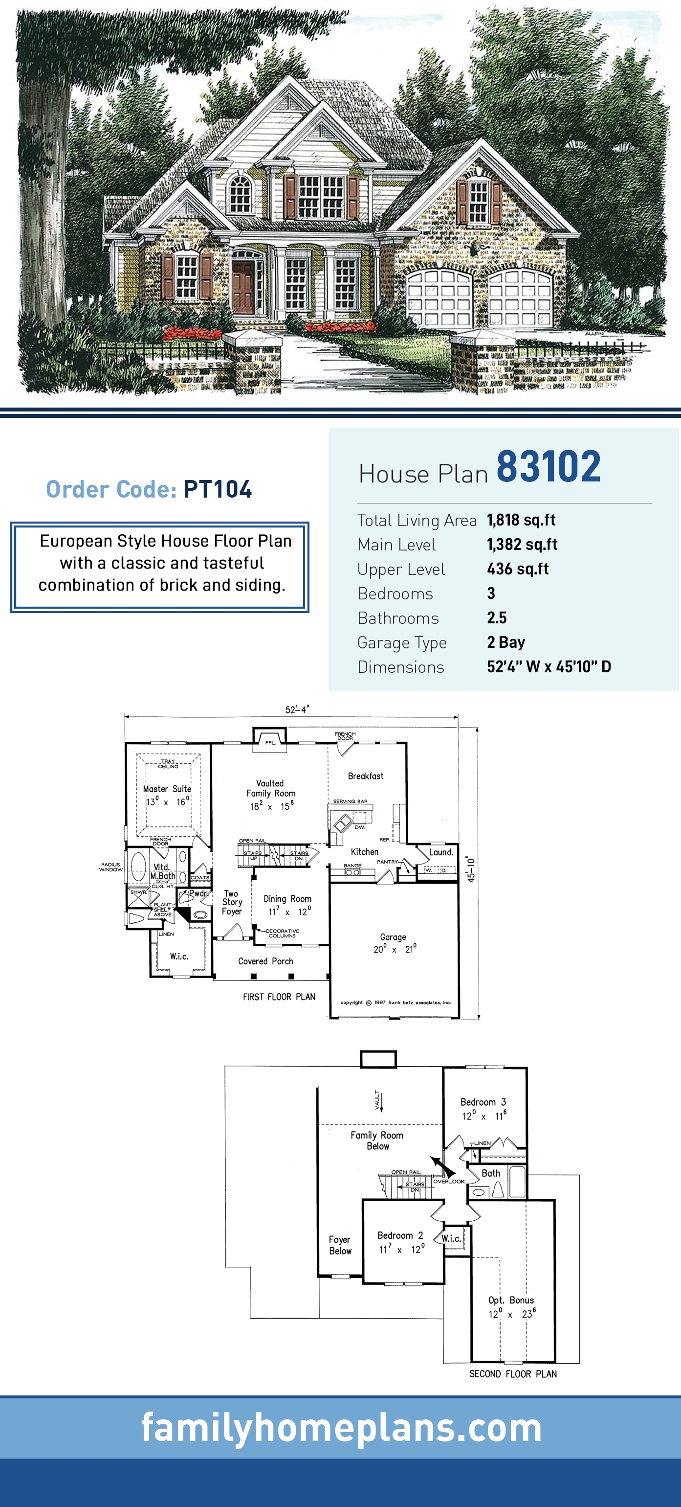 European, Traditional House Plan 83102 with 3 Beds, 3 Baths, 2 Car Garage