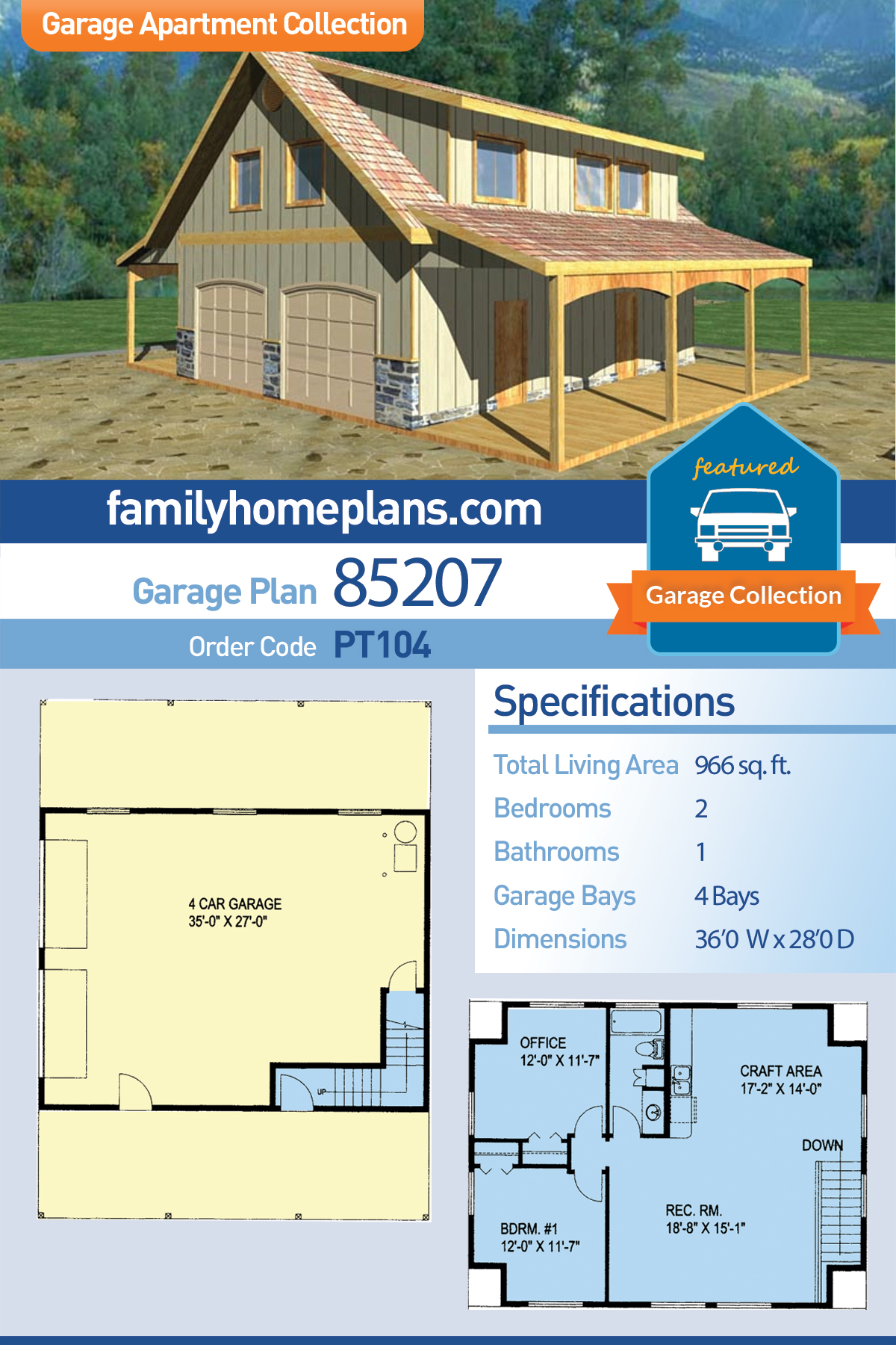 Country, Southern 4 Car Garage Apartment Plan 85207 with 2 Beds, 1 Baths