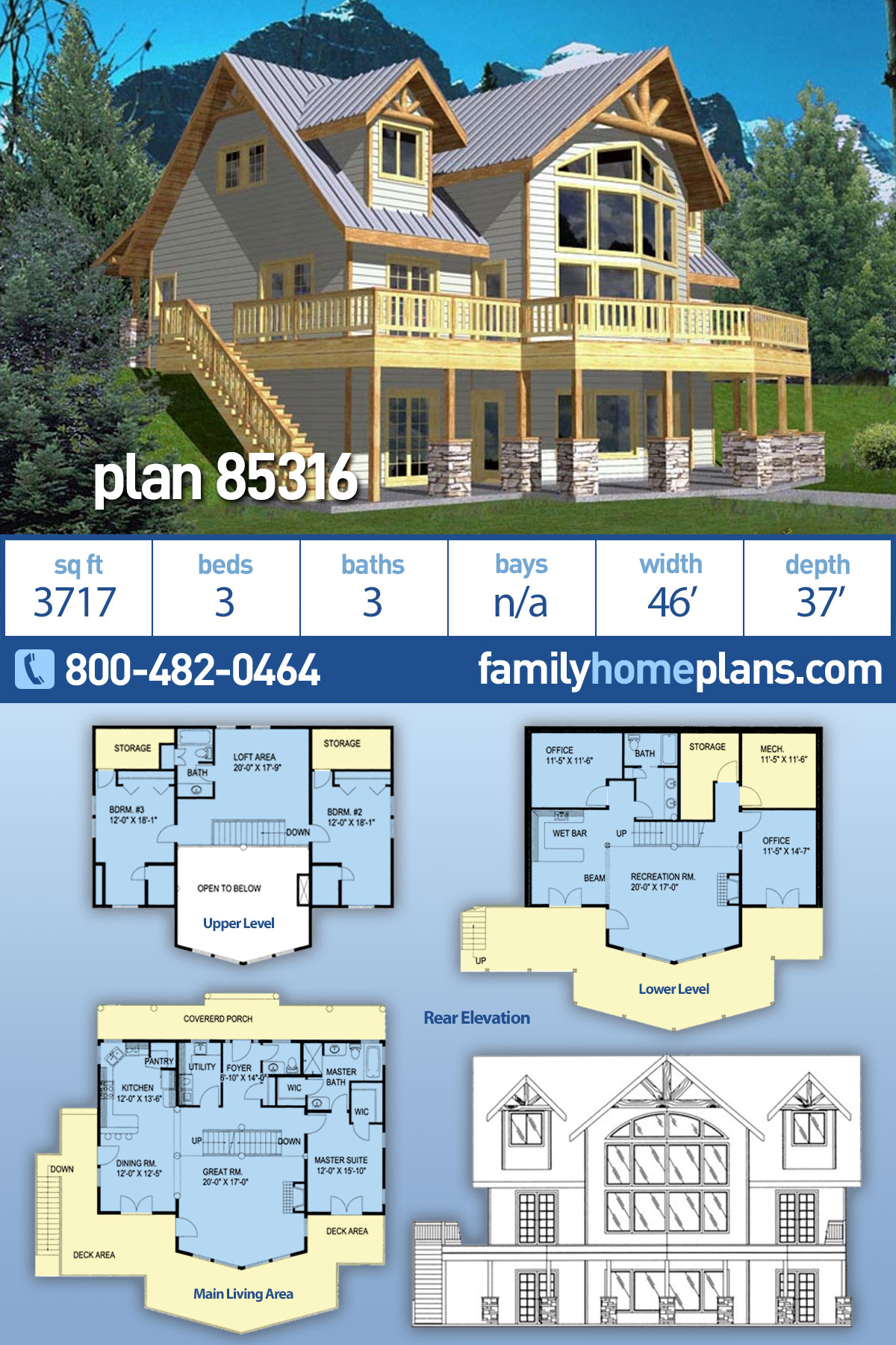 Coastal House Plan 85316 with 3 Beds, 3 Baths