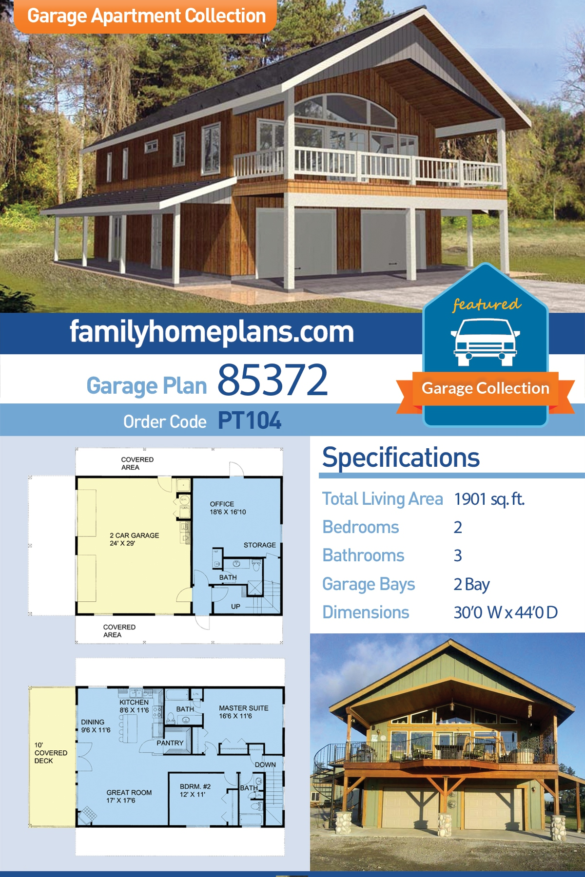 Contemporary, Farmhouse 2 Car Garage Apartment Plan 85372 with 2 Beds, 3 Baths