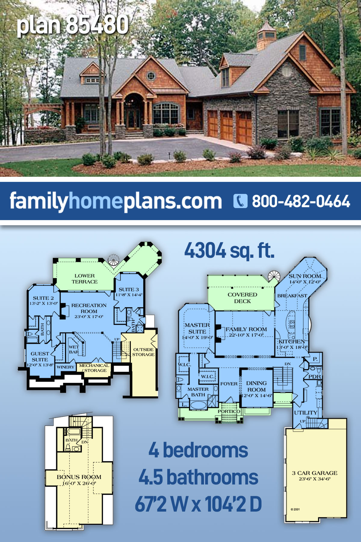 Cottage, Craftsman House Plan 85480 with 4 Beds, 5 Baths, 3 Car Garage