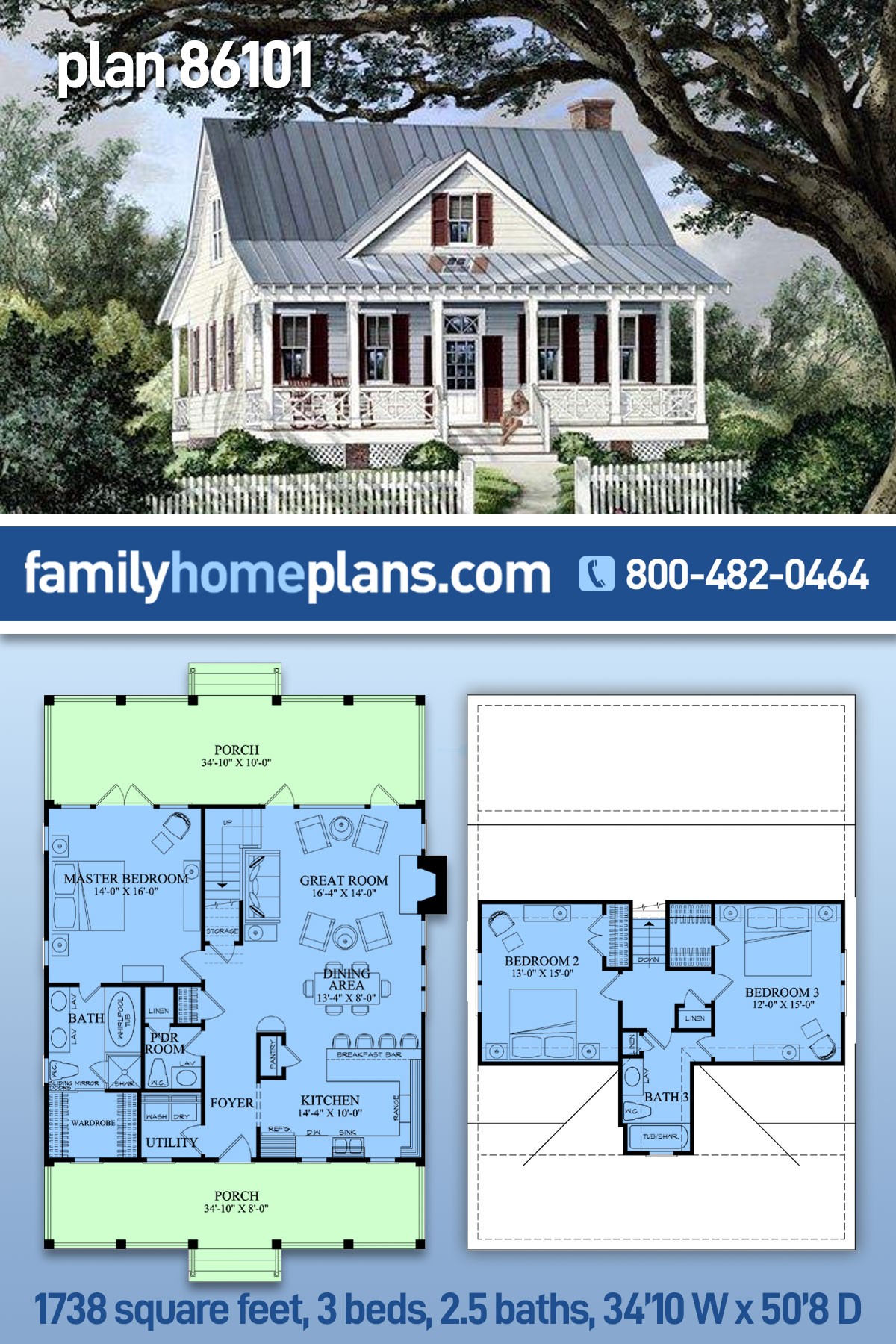 Cape Cod, Cottage, Country, Southern House Plan 86101 with 3 Beds , 3 Baths