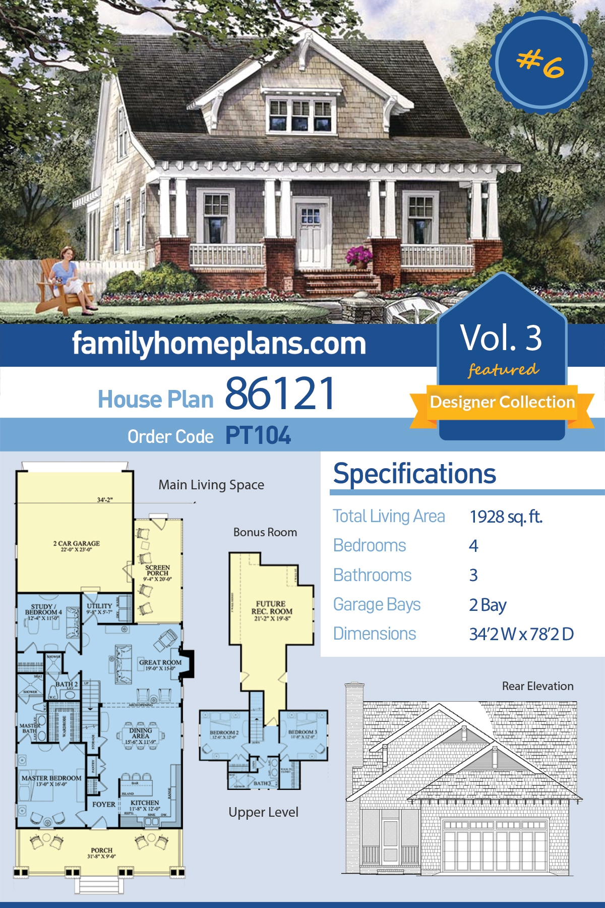 Bungalow, Cottage, Craftsman, Modern Farmhouse House Plan 86121 with 4 Beds , 3 Baths , 2 Car Garage