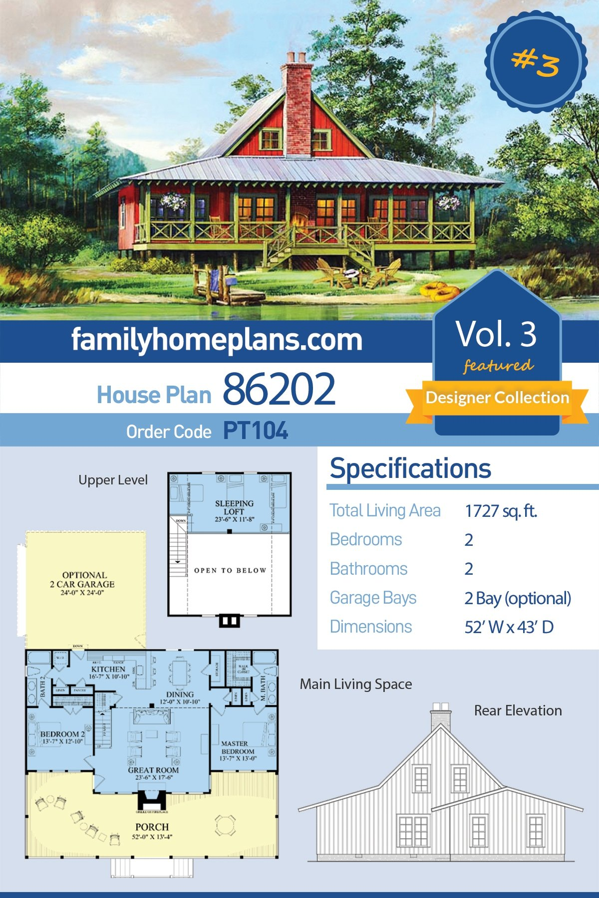 Cabin , Contemporary , Country , Southern House Plan 86202 with 2 Beds, 2 Baths, 2 Car Garage