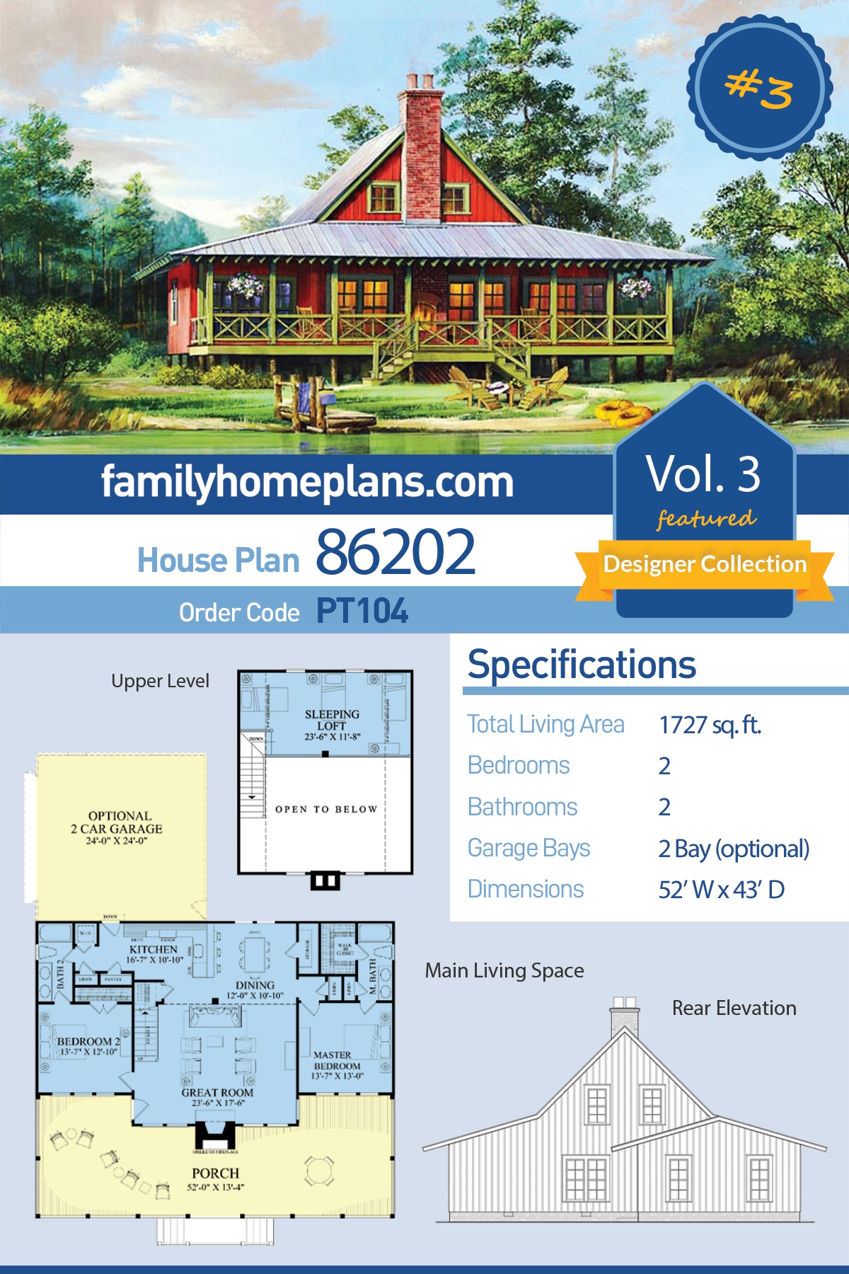 Cabin, Contemporary, Country, Southern House Plan 86202 with 2 Beds, 2 Baths, 2 Car Garage
