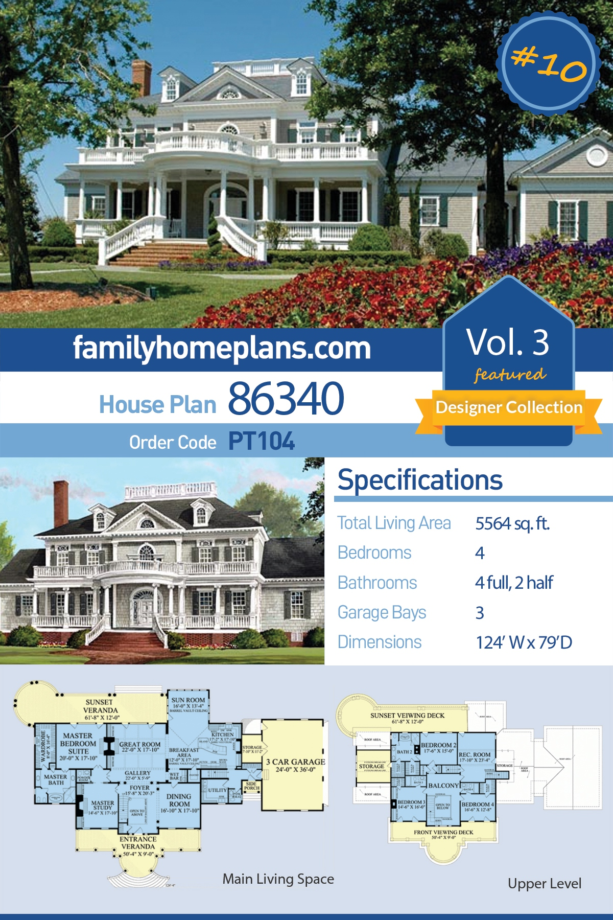 Plantation, Southern House Plan 86340 with 4 Beds , 6 Baths , 3 Car Garage