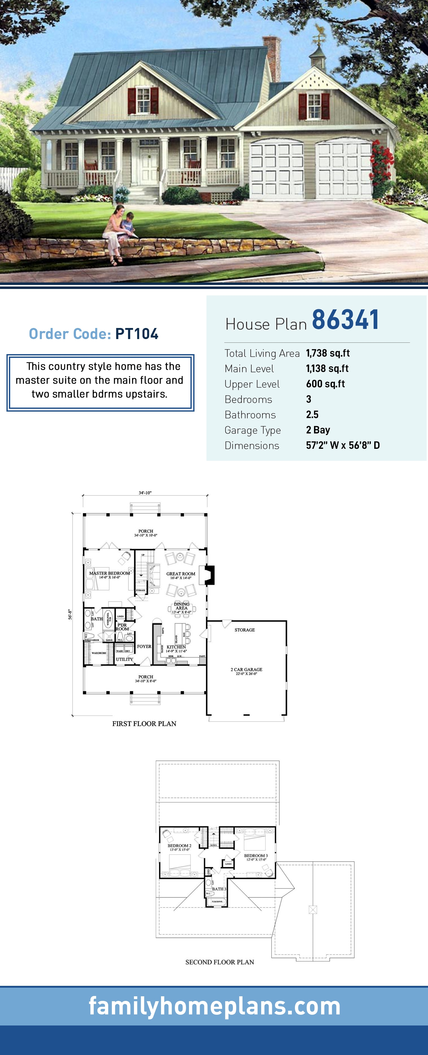Cottage, Country, Farmhouse House Plan 86341 with 3 Beds, 3 Baths, 2 Car Garage